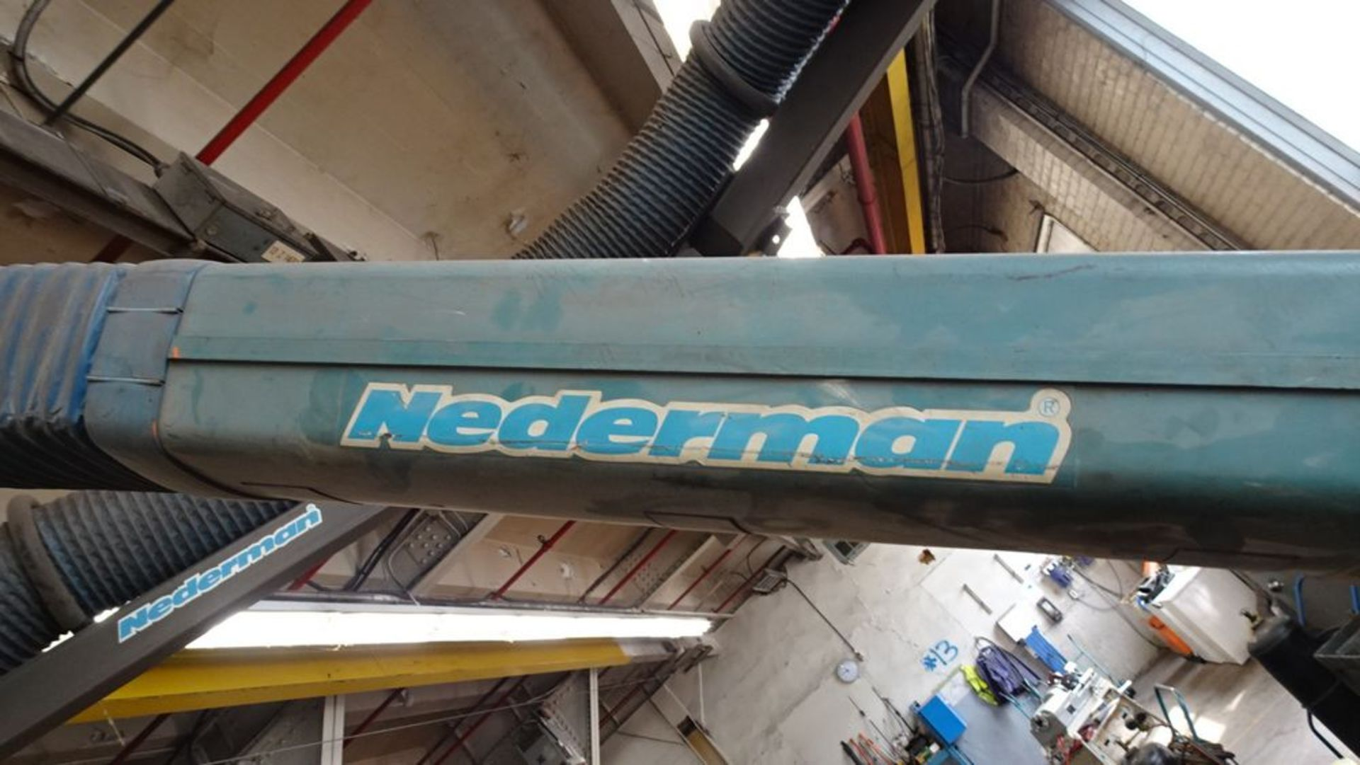 Lot 57 - NEDERMAN OVERHEAD ARM FUME EXTRACTOR, WALL MOUNTED SYSTEM (RIGGING FEE $150)