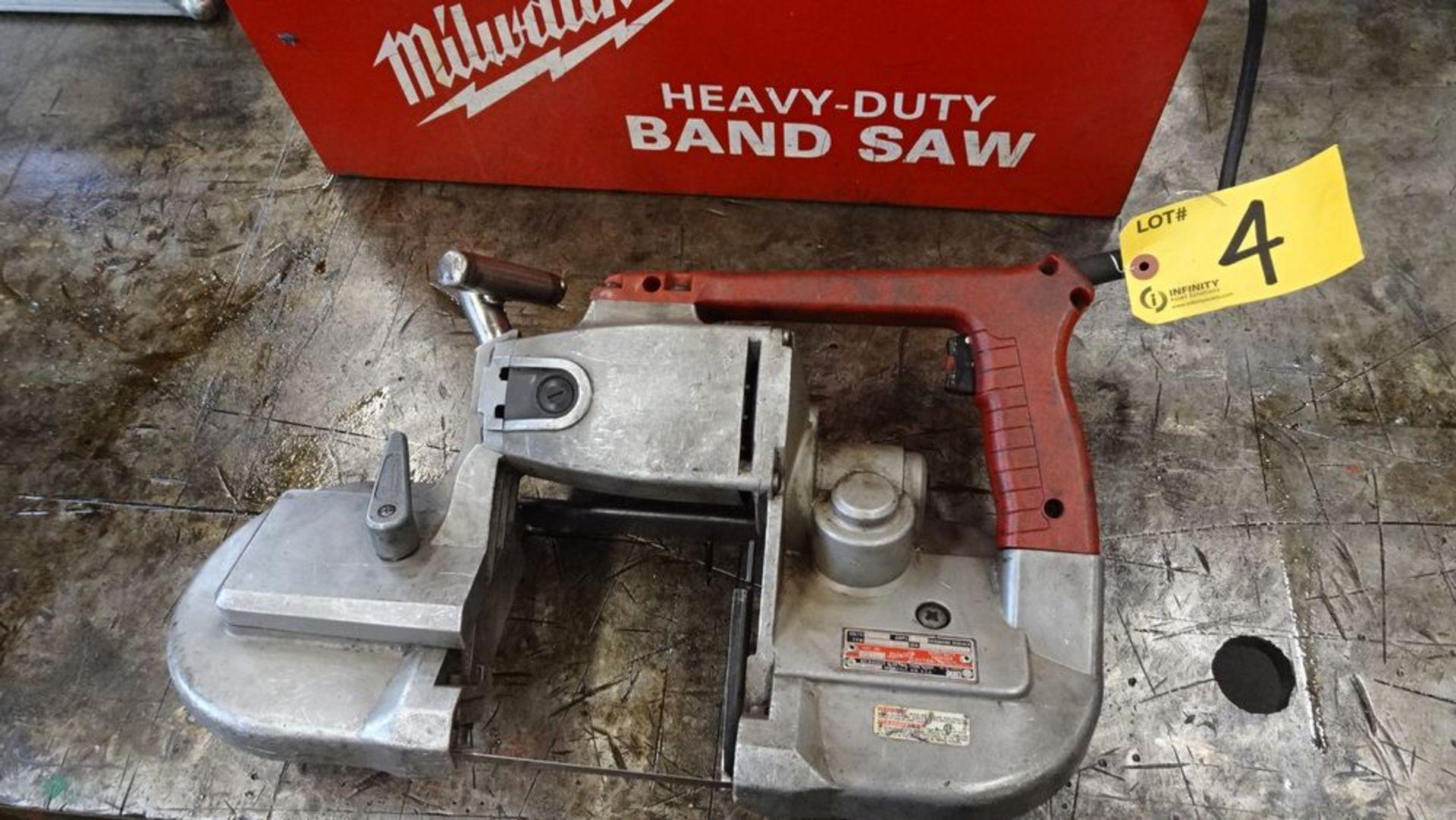 Lot 4 - MILWAUKEE 6230 HEAVY DUTY PORTABLE BANDSAW, 120V, C/W CASE, S/N 000673137