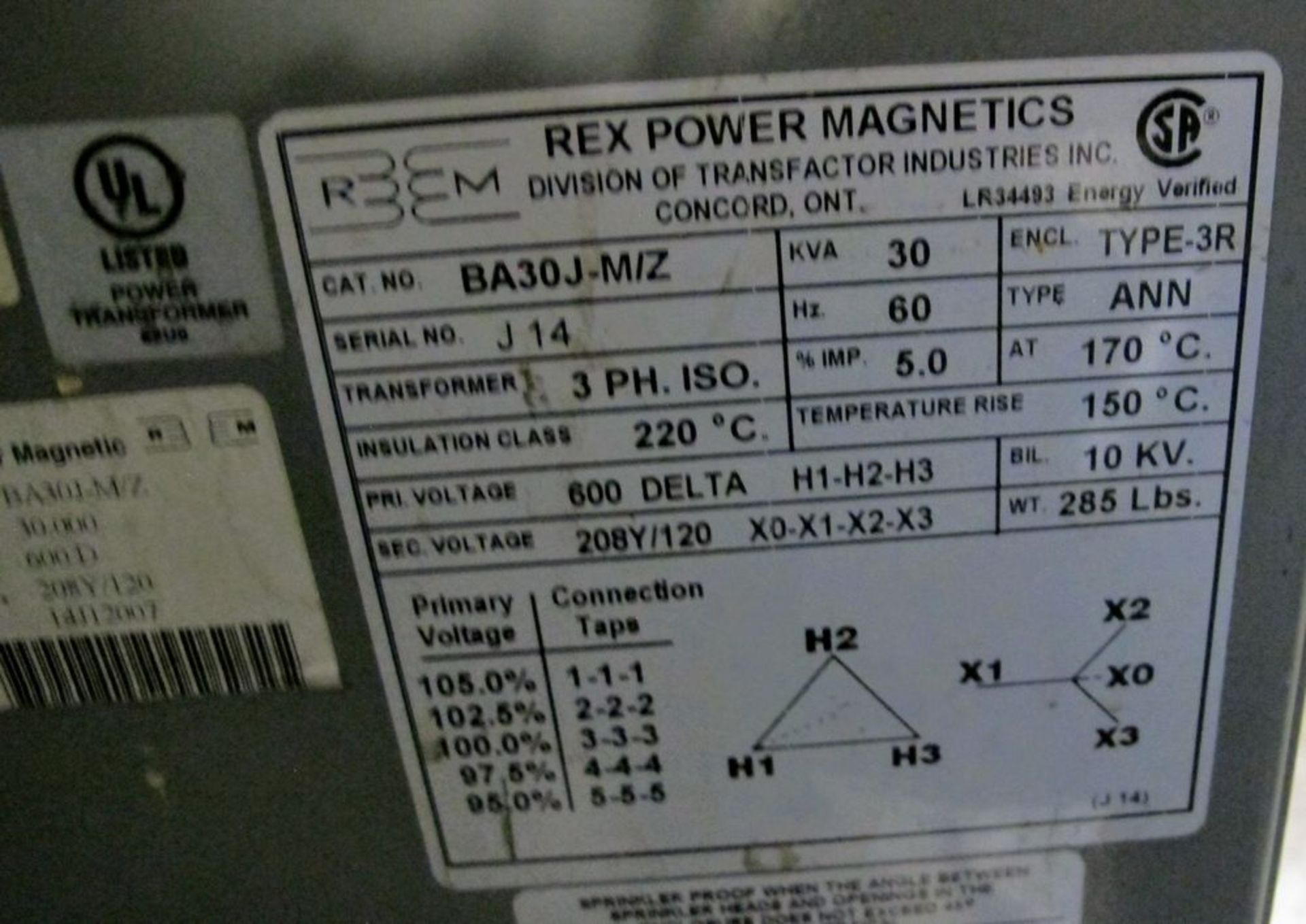 Lot 70 - REX POWER MAGNETICS TRANSFORMER, 30KVA, 600V PRIMARY, 208/120 SECONDARY