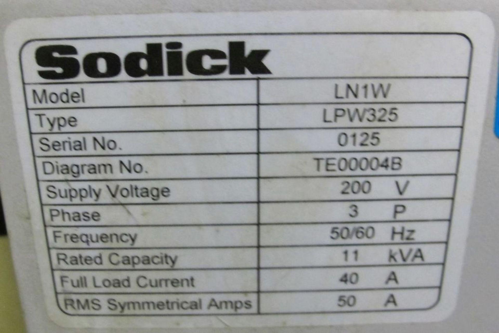 Lot 79 - 2008SODICKAD325L Wire EDM, LN1W Control, s/n 0125, Travels: X-320mm, Y-250mm, Z-220mm