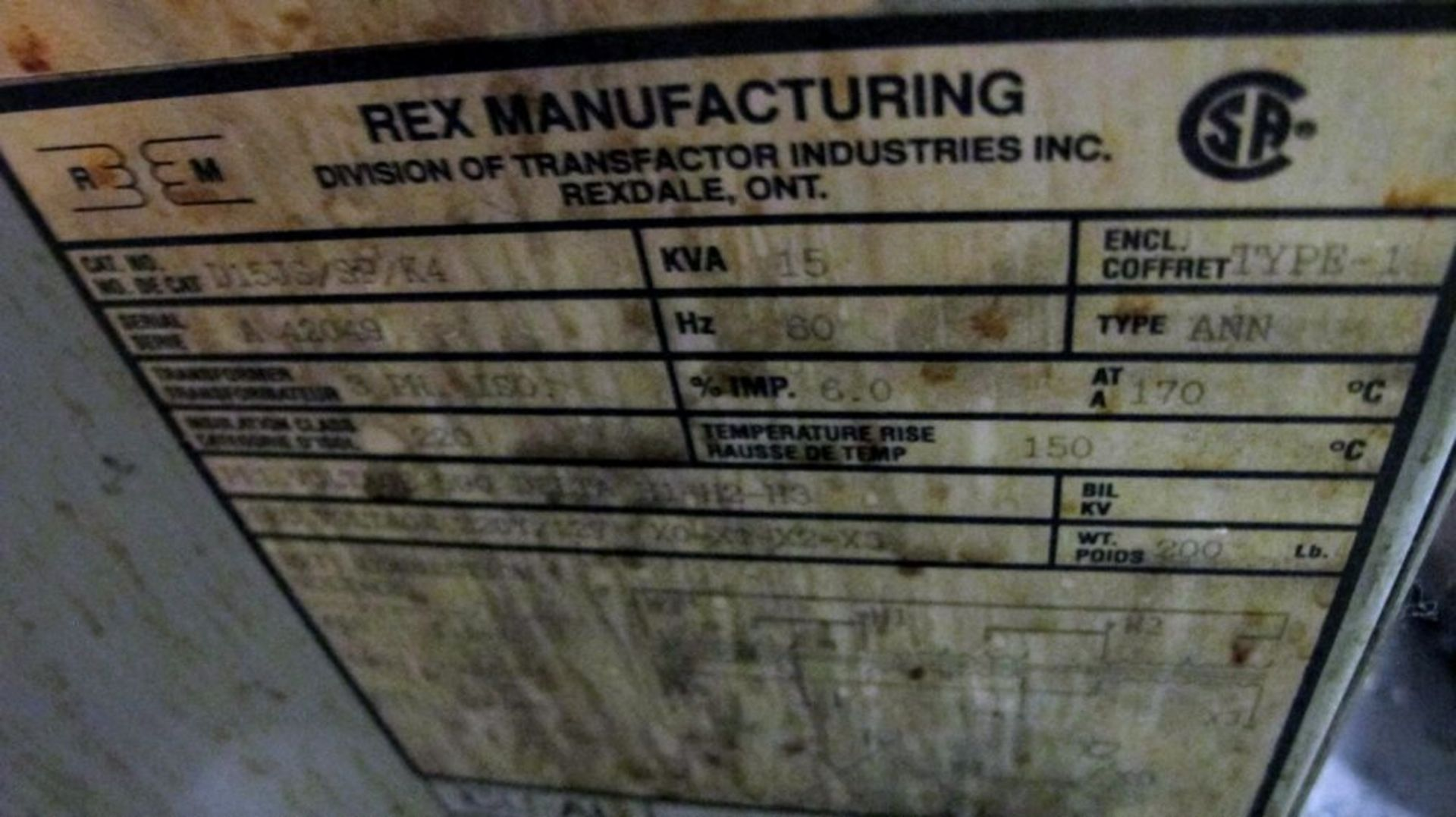 Lot 86 - REX MANUFACTURING 15KVA TRANSFORMER