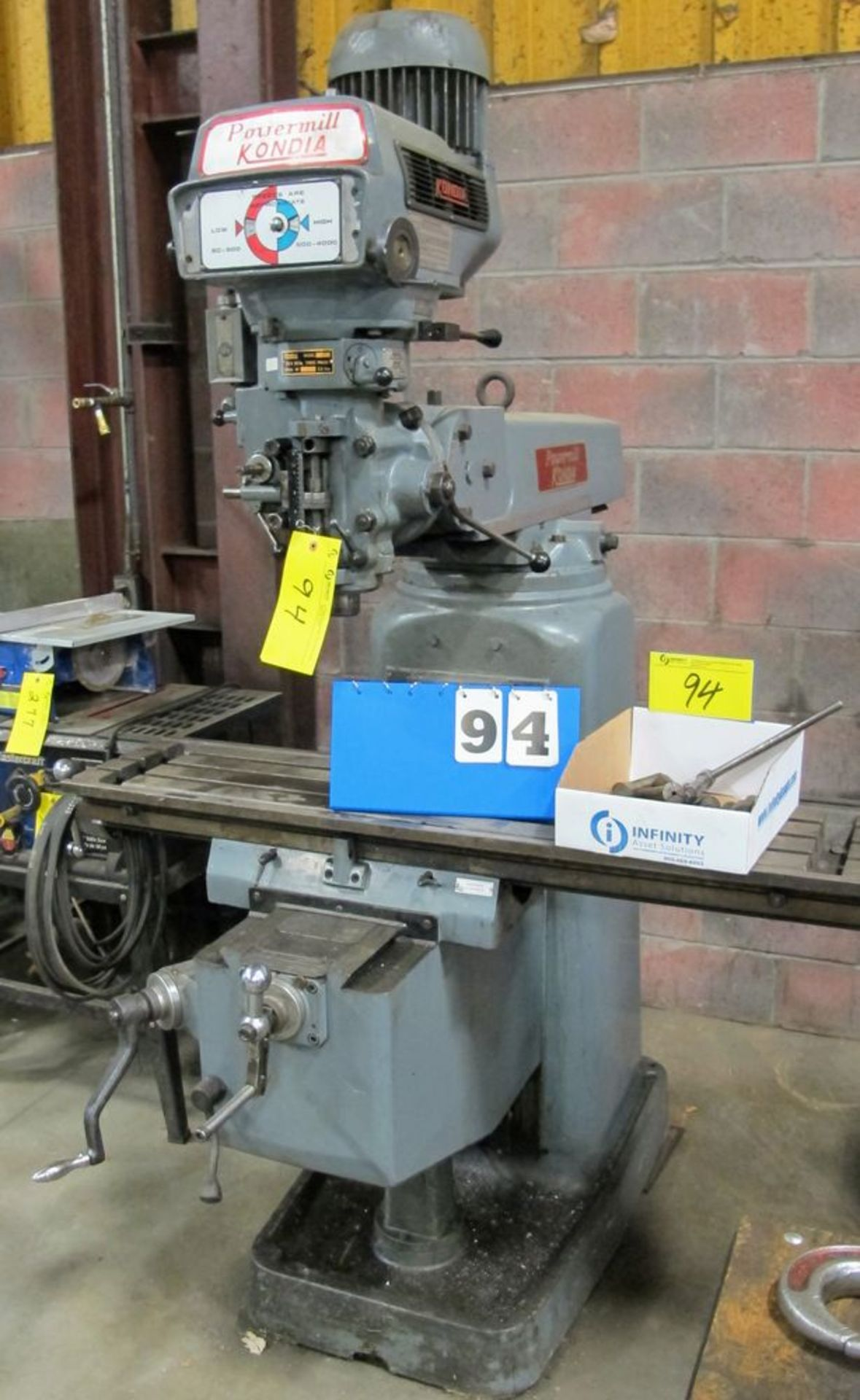 "Lot 94 - KONDIA FV-1 Vertical Milling Machine, 12"" x 48"" Table, 4,000 RPM, s/n T-711"