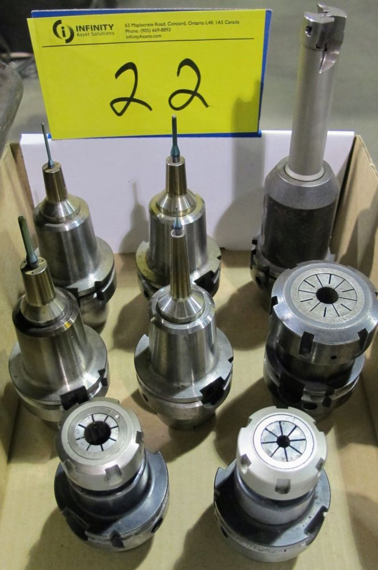 Lot 22 - LOT OF (8) HSK-A63 TOOL HOLDERS W/ ASST. TOOLING