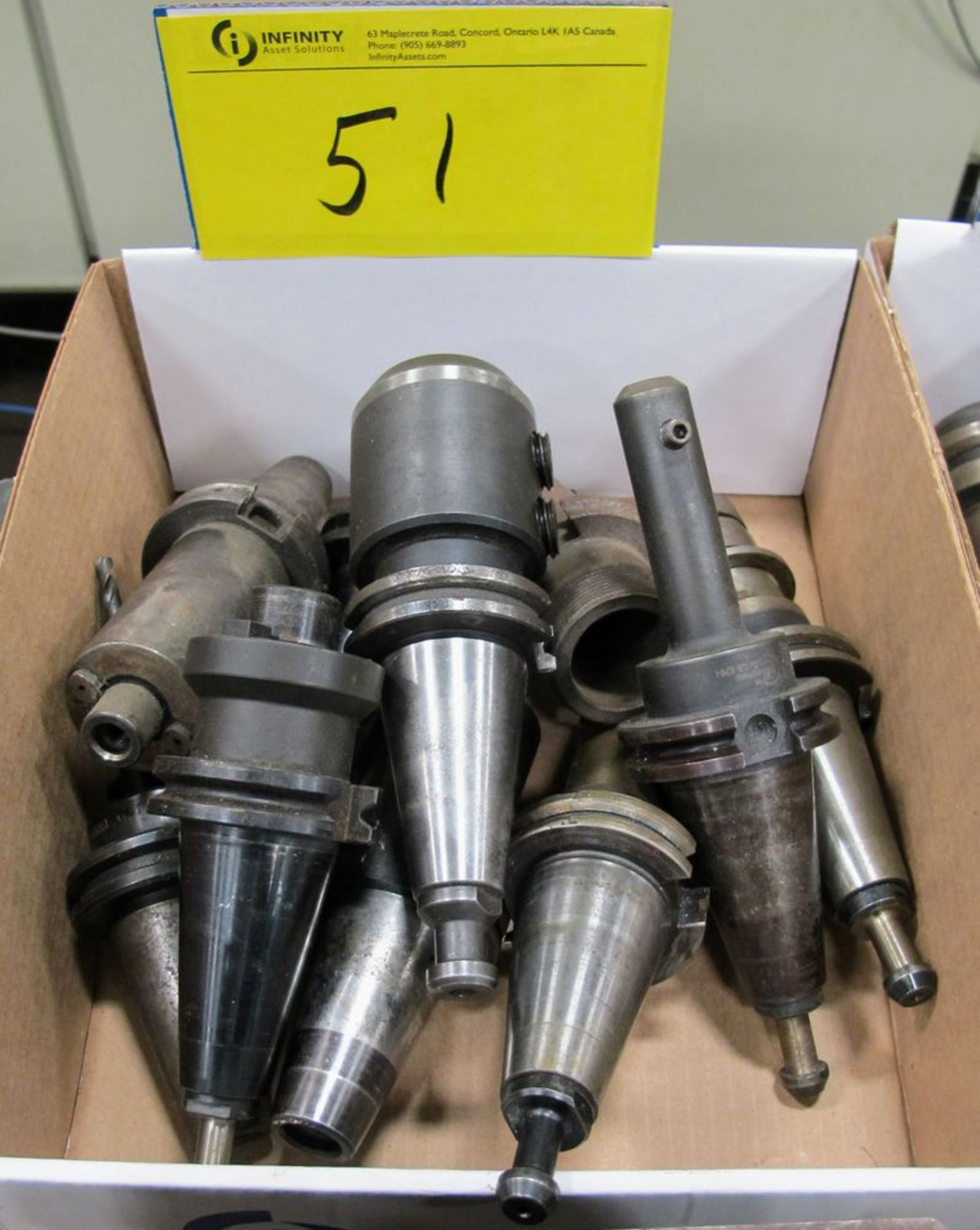 Lot 51 - LOT (9) ASST. CAT40 TOOL HOLDERS W/ TOOLING