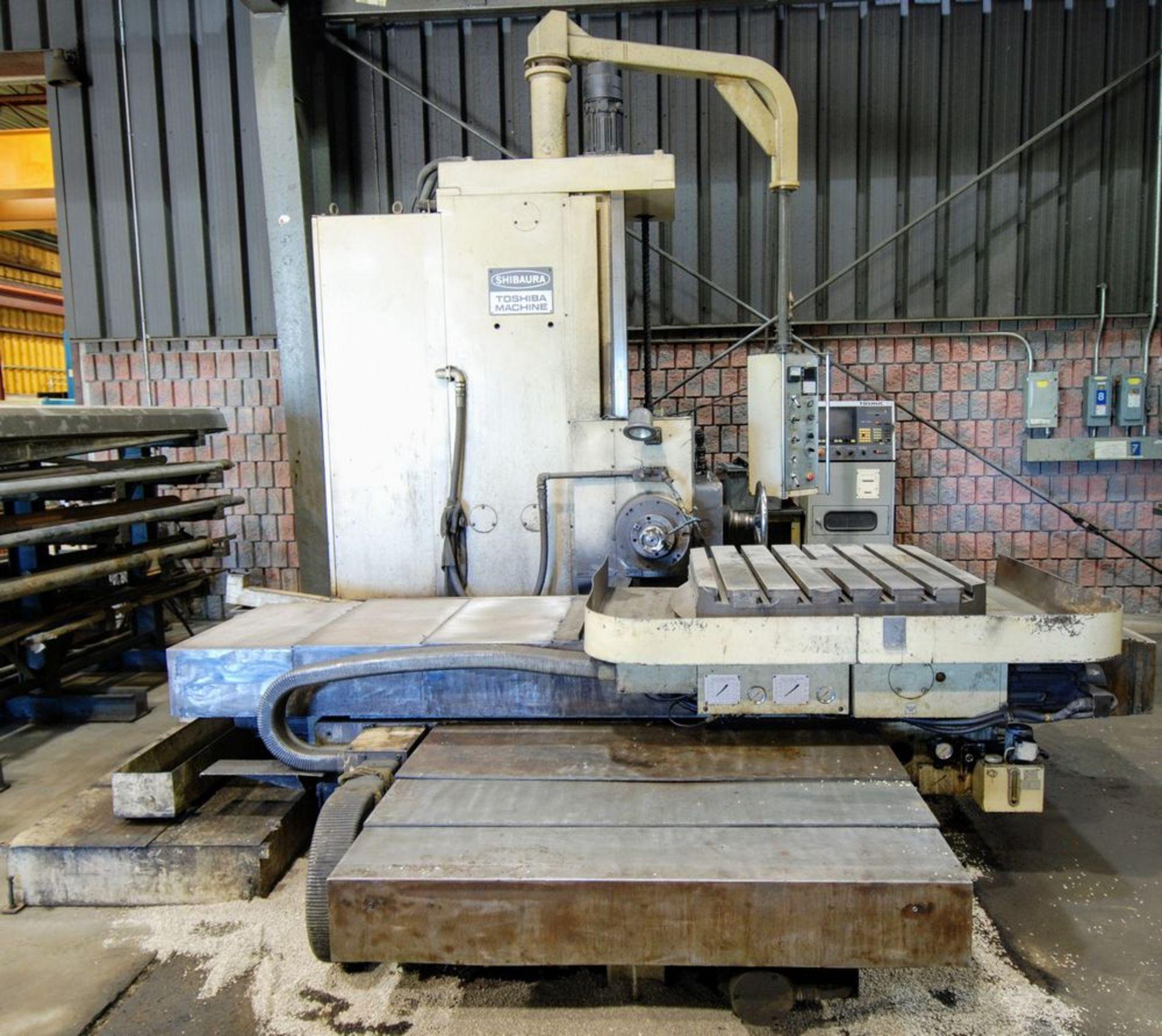 "Lot 58 - TOSHIBA SHIBAURA BTD-9 Table Type Horizontal Boring Mill, Tosnuc CNC Control, 4"" Spindle, 35"" x"