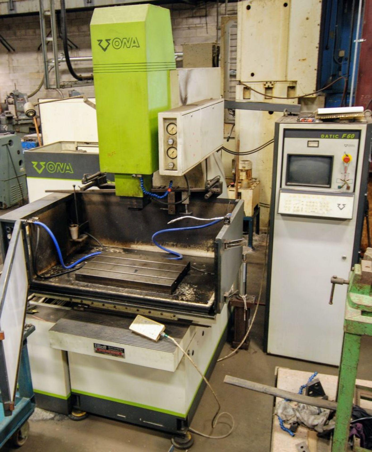 """Lot 85 - ONA Datic D-360-F Sinker EDM, Datic F60 Control, 16"""" x 24"""" Table, s/n 6646/9411 w/ Setup Clamps"""