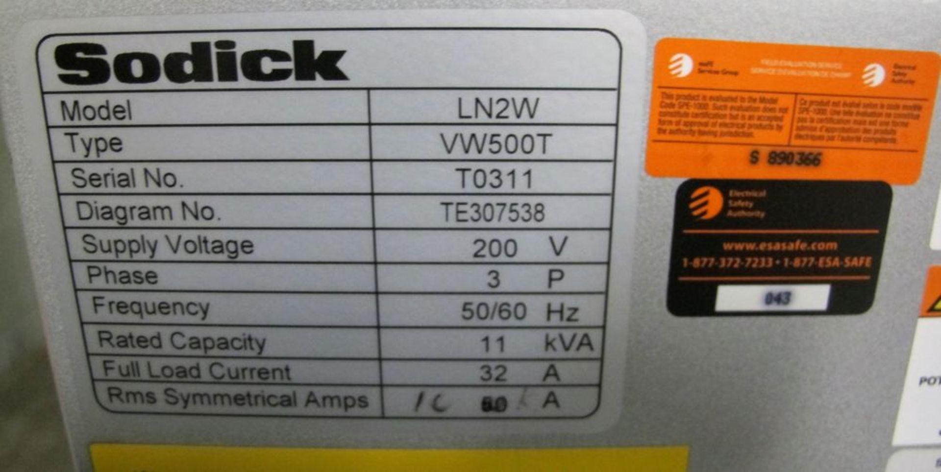 Lot 73 - 2016SODICKVZ500L Wire EDM, LN2W Control, s/n T0311, Travels: X-500mm, Y-350mm, Z-250mm
