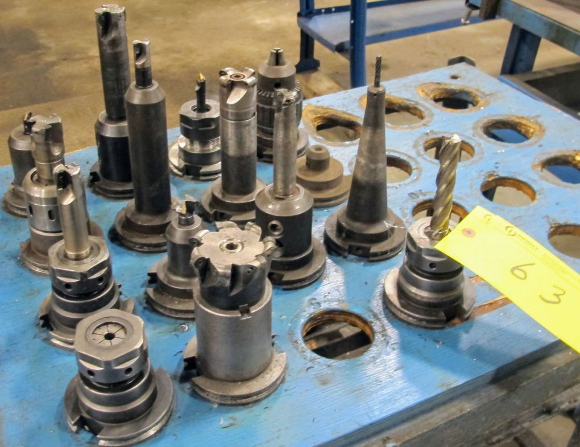 Lot 63 - LOT (15) ASST. CAT50 TOOL HOLDERS W/ TOOLING AND CART