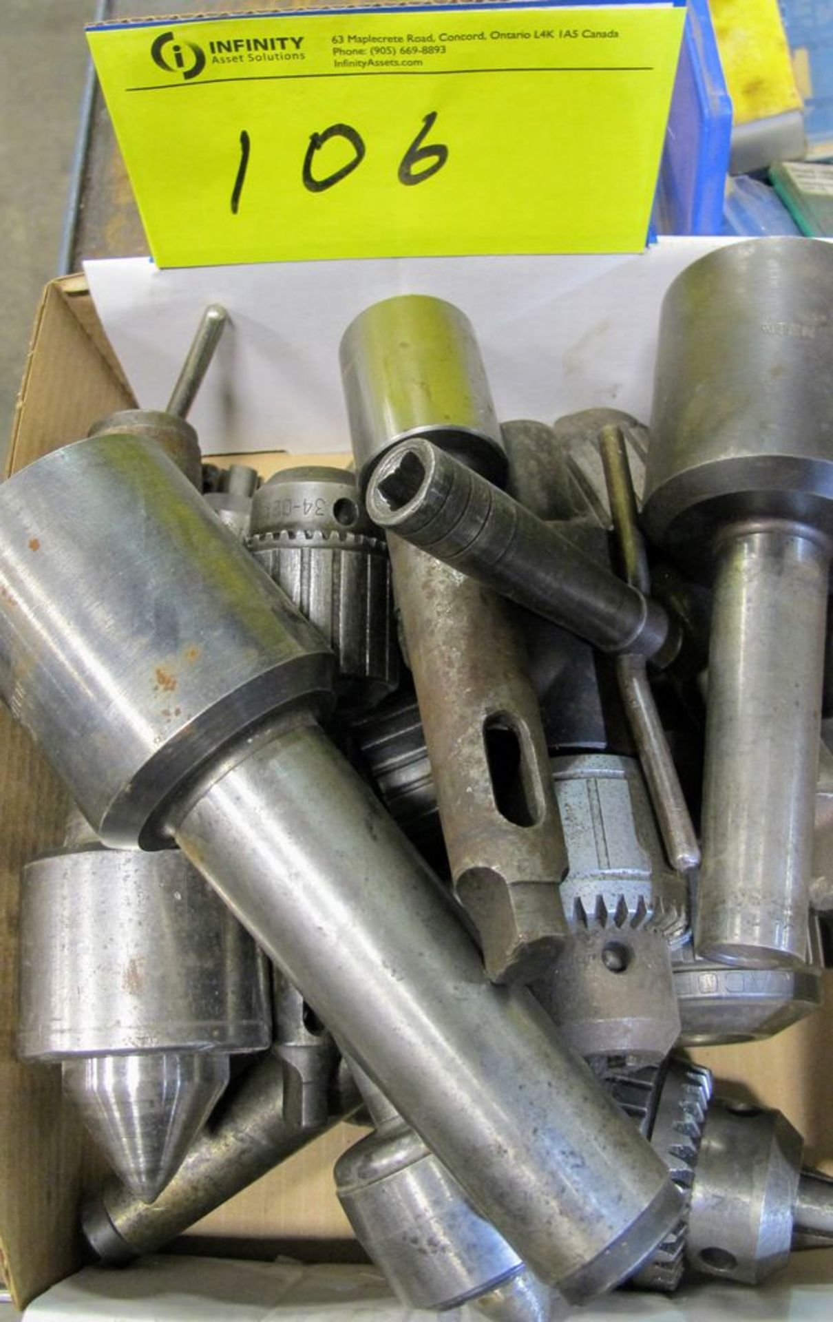 Lot 106 - LOT ASST. JACOBS CHUCKS, CARBIDE CUTTER HOLDERS, CARBIDE CUTTING BITS, ETC.