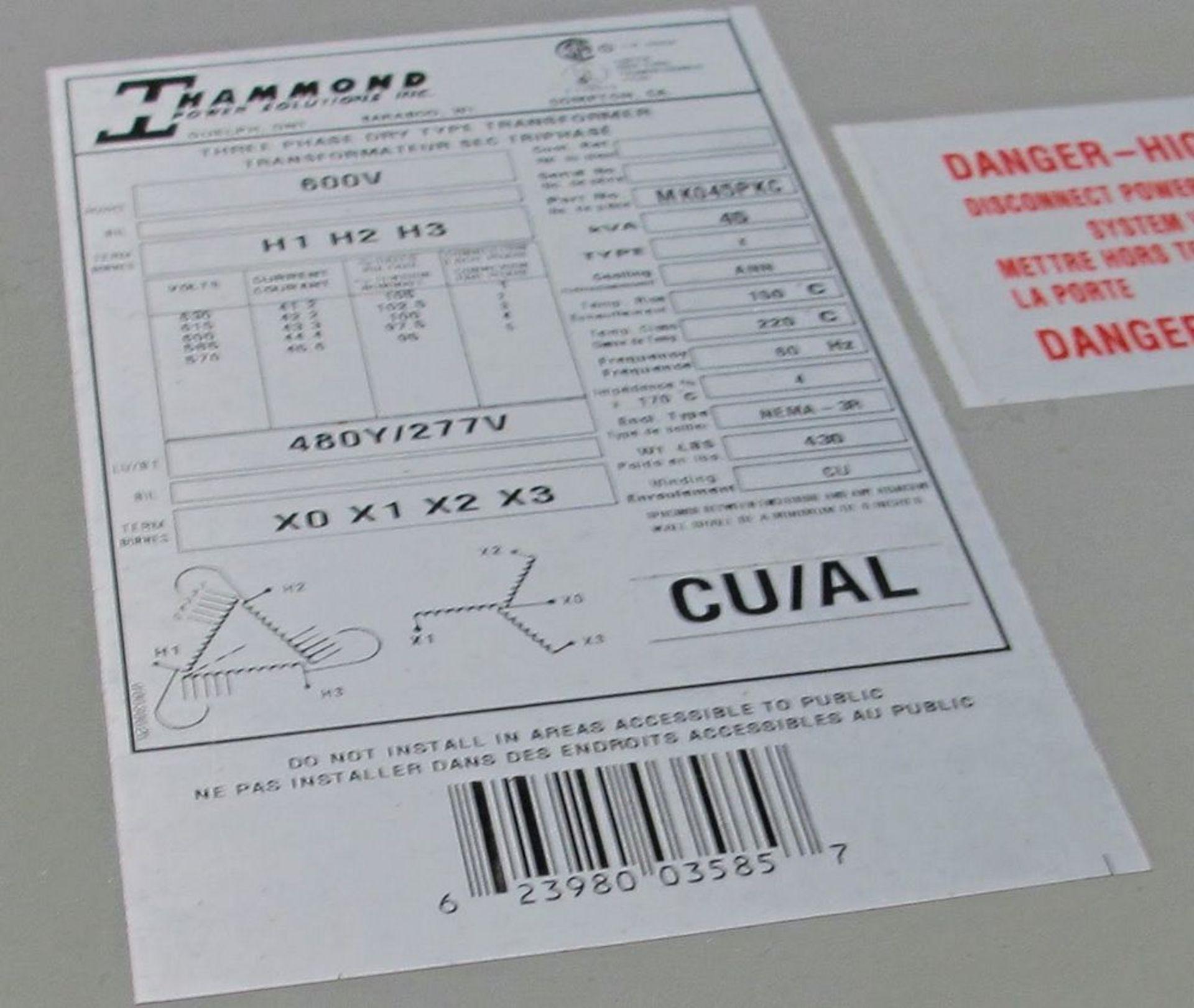Lot 17 - 45KVA TRANSFORMER, 600V PRIMARY, 480/277 SECONDARY
