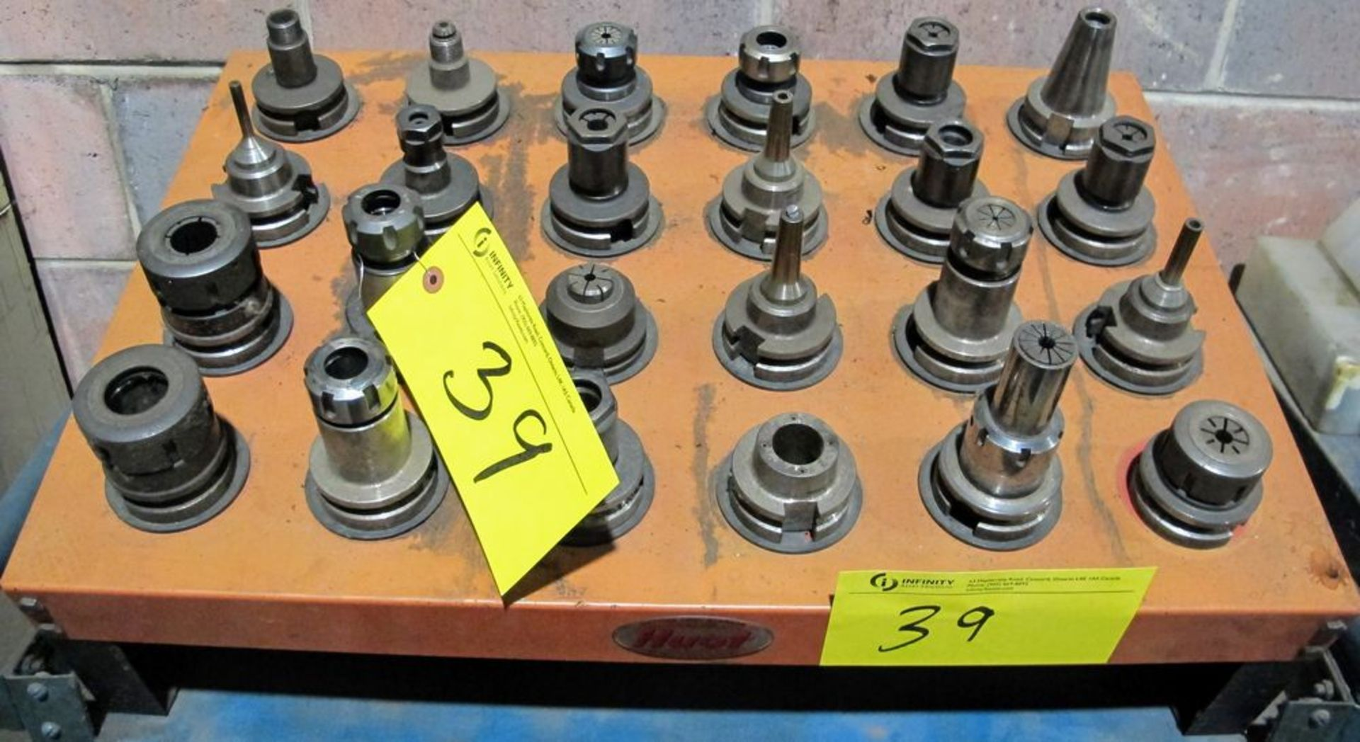 Lot 39 - LOT (24) ASST. BT40 TOOL HOLDERS W/ TOOLING AND HUOT TRAY