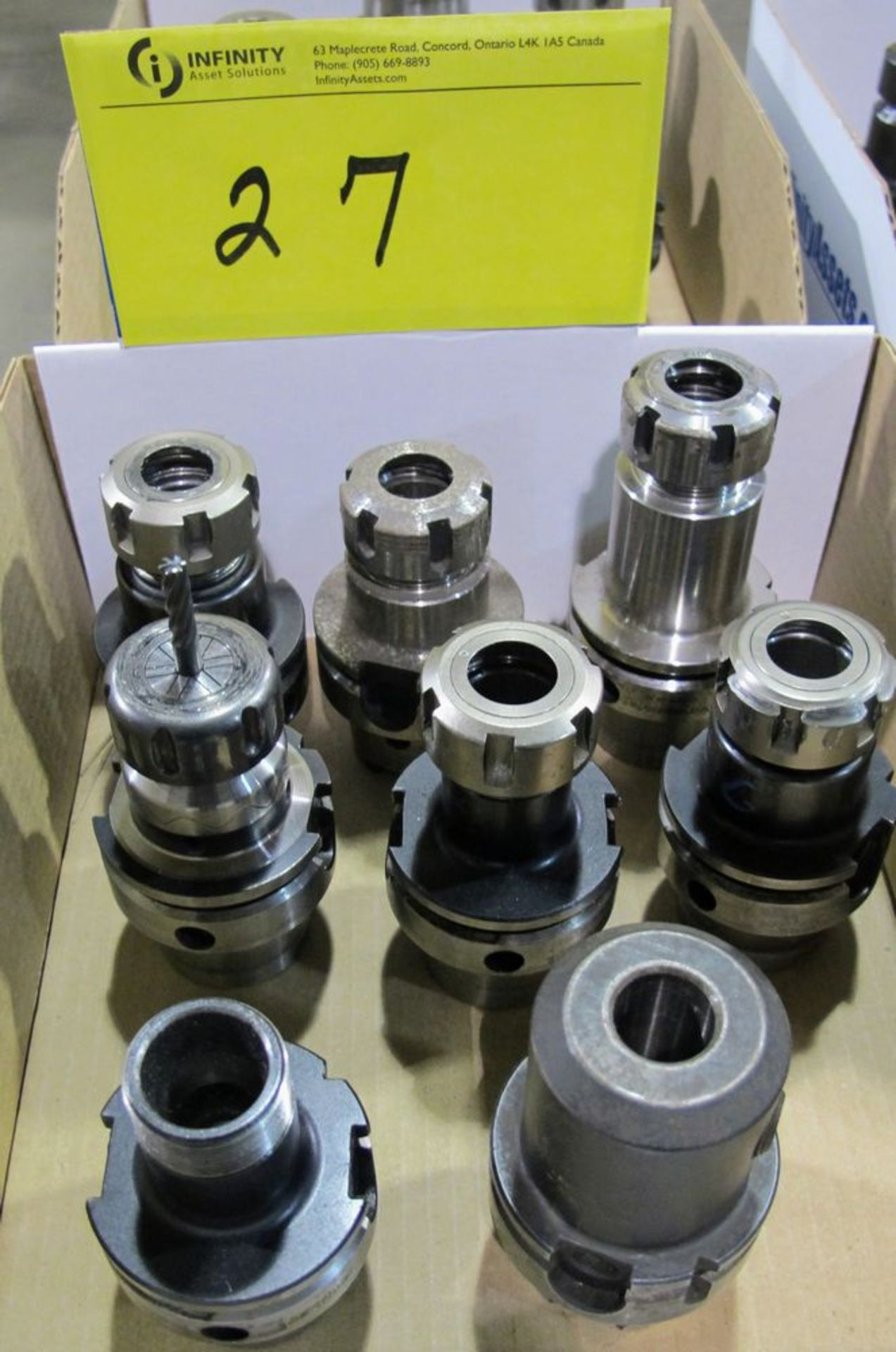 Lot 27 - LOT OF (8) HSK-A63 TOOL HOLDERS W/ ASST. TOOLING