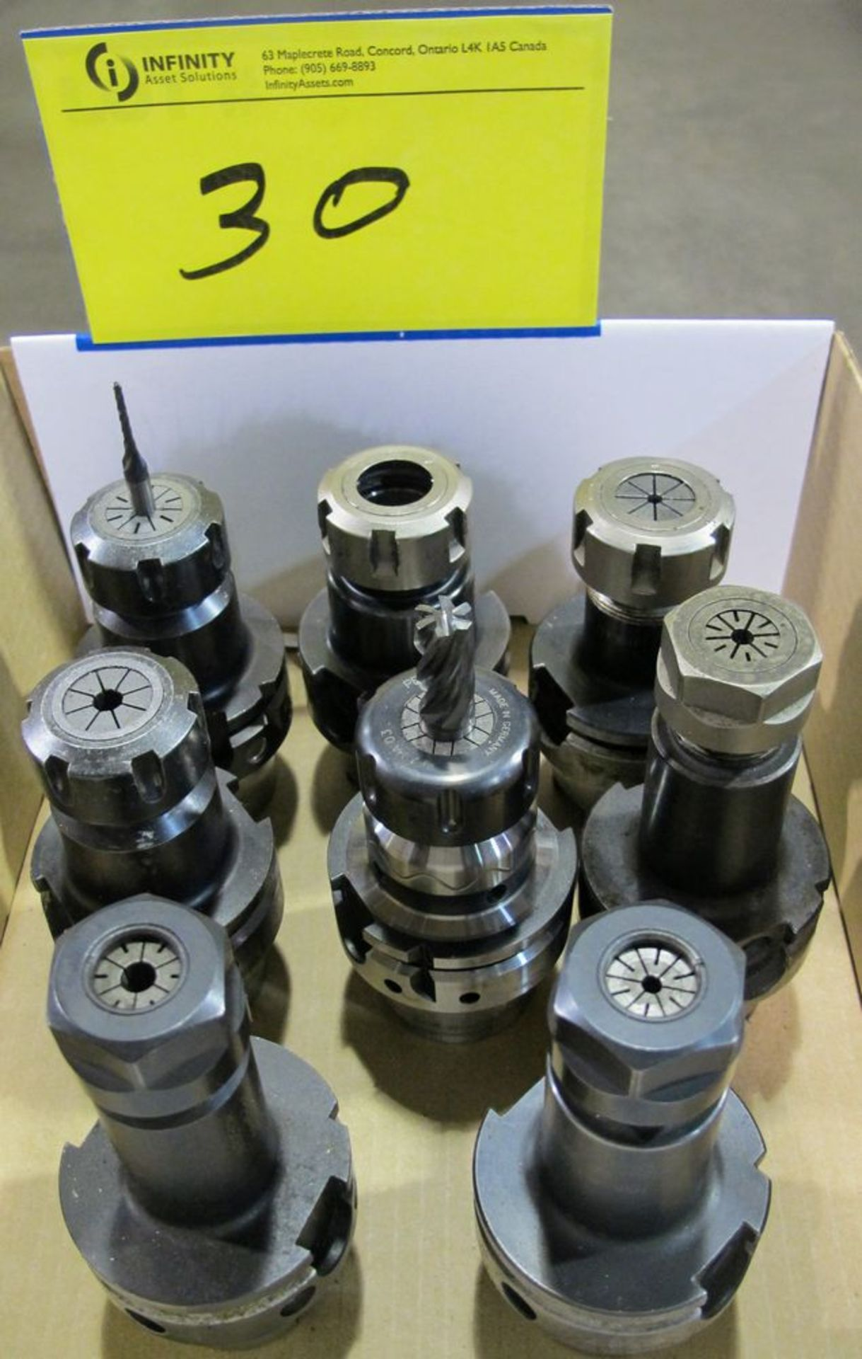 Lot 30 - LOT OF (8) HSK-A63 TOOL HOLDERS W/ ASST. TOOLING