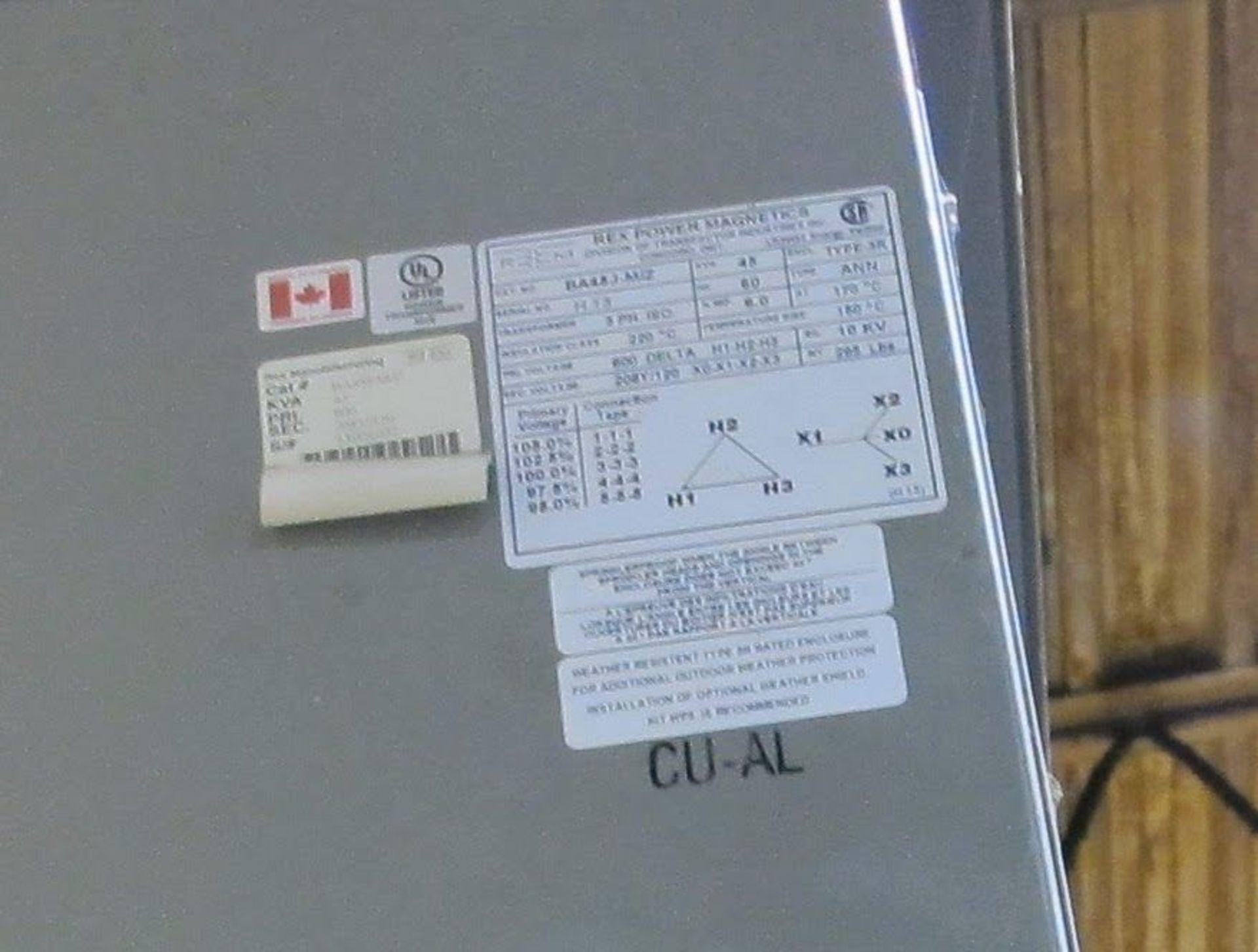 Lot 13 - REX POWER MAGNETIC TRANSFORMER, 45KVA, 600V PRIMARY, 208/110 SECONDARY