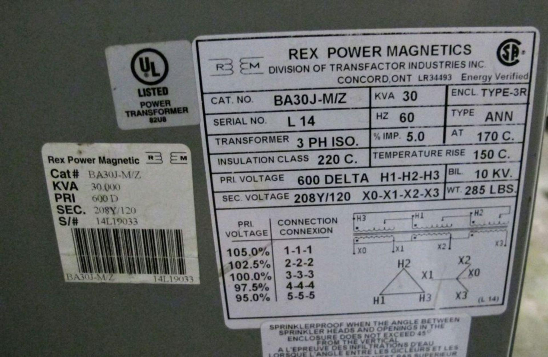 Lot 74 - REX POWER MAGNETICS TRANSFORMER, 30KVA, 600V PRIMARY, 208/120 SECONDARY