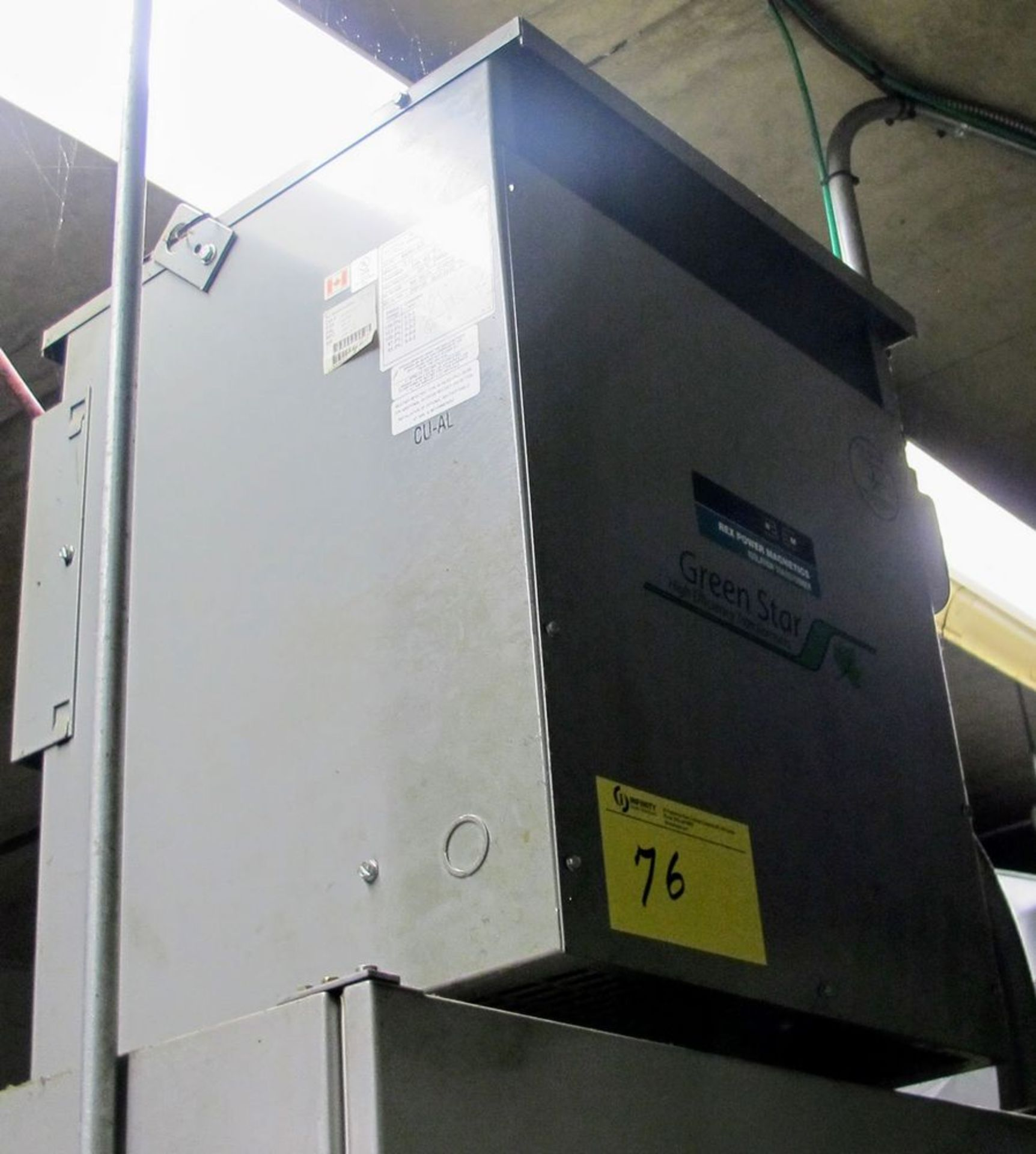 Lot 76 - REX POWER MAGNETICS TRANSFORMER, 30KVA, 600V PRIMARY, 208/120 SECONDARY