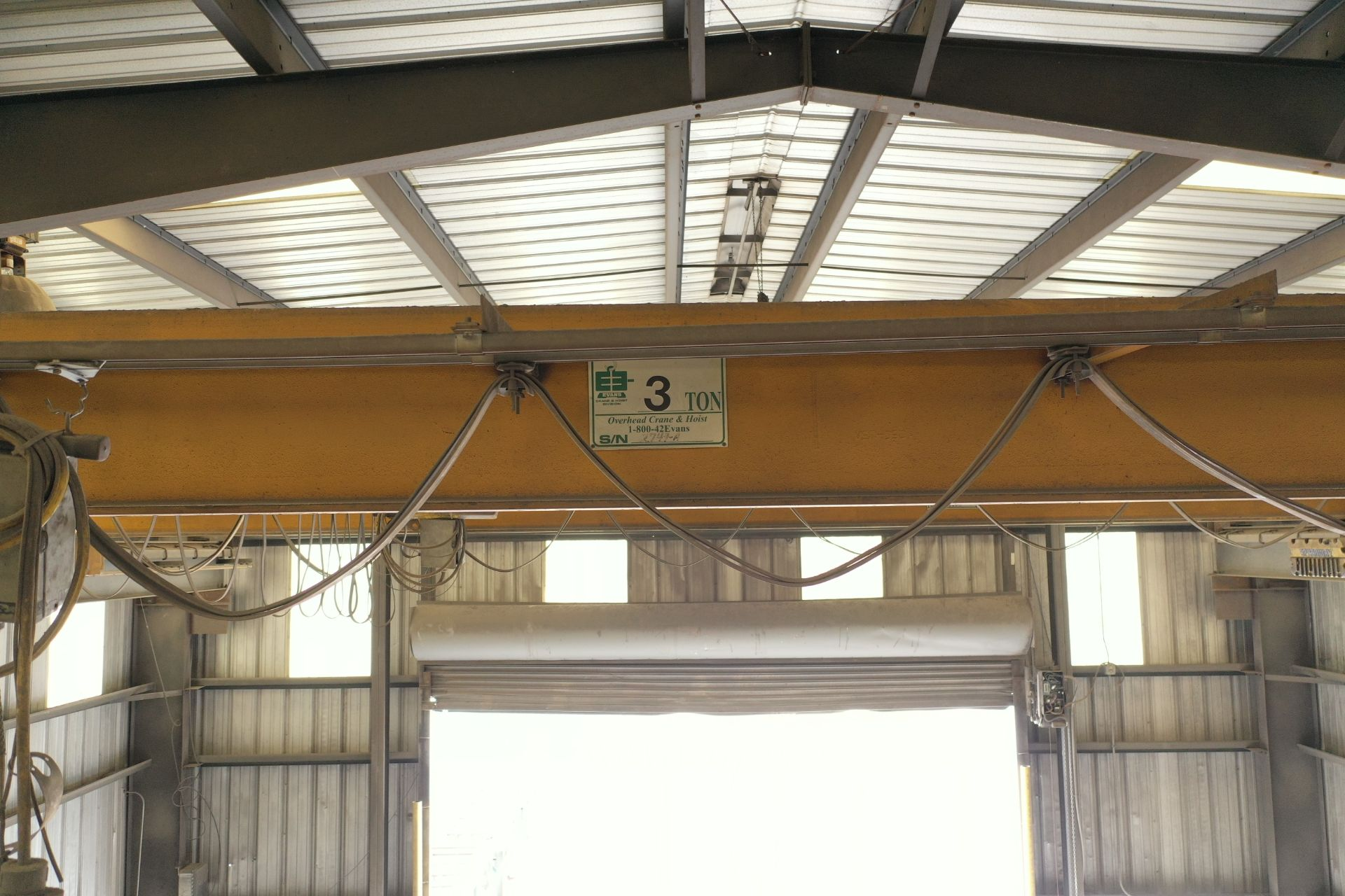 Lot 1 - Evans 3 Ton Overhead Crane SN: 2479A with 3 Ton Hoist & Pendant Control, Approx 40 ft Span (LOCATION
