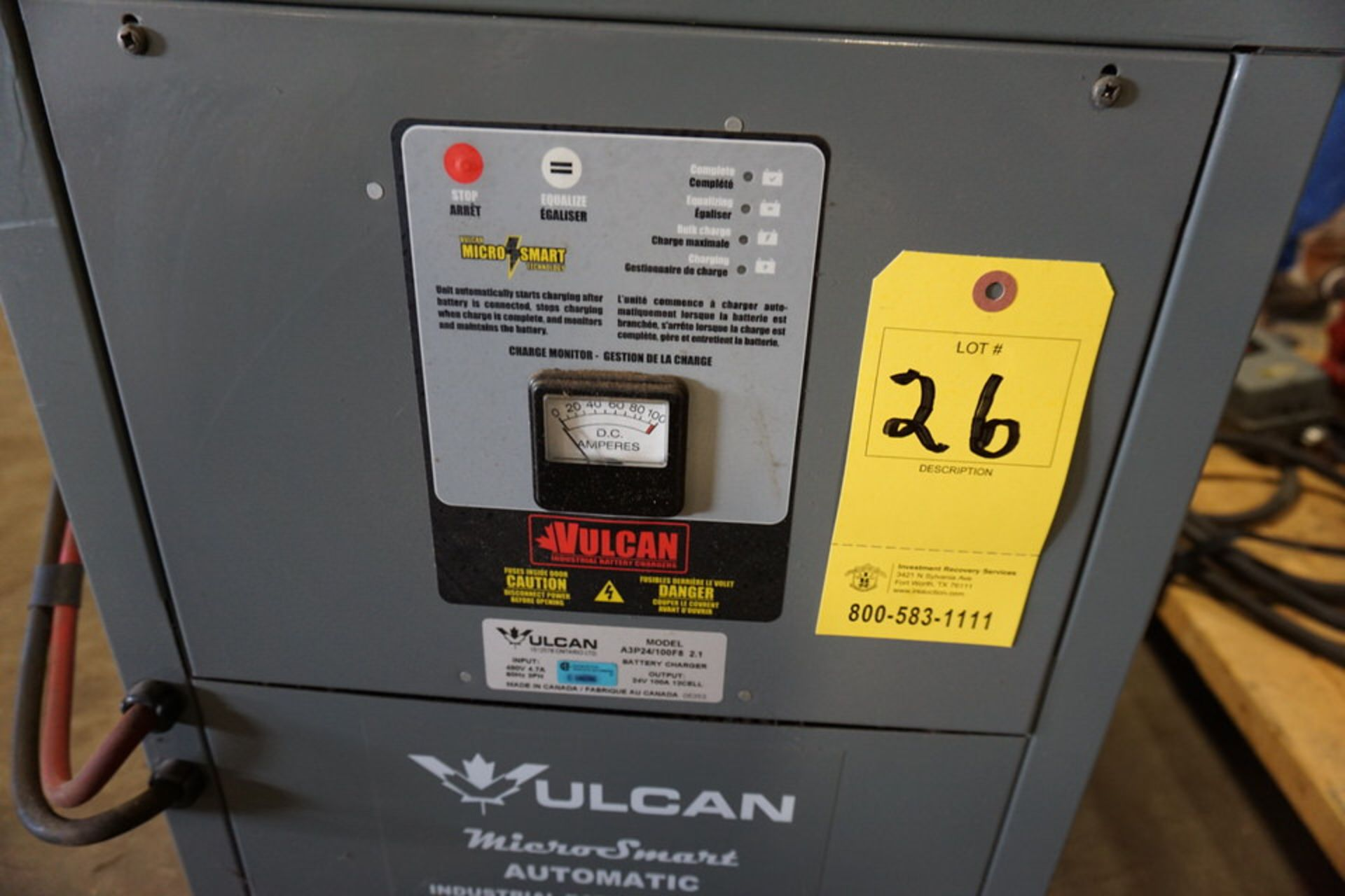 Lot 26 - VULCAN MICRO SMART AUTO INDUSTRIAL BATTERY CHARGER, MDL:A3P24/1100 F8, 24V (Location: 903 Blue