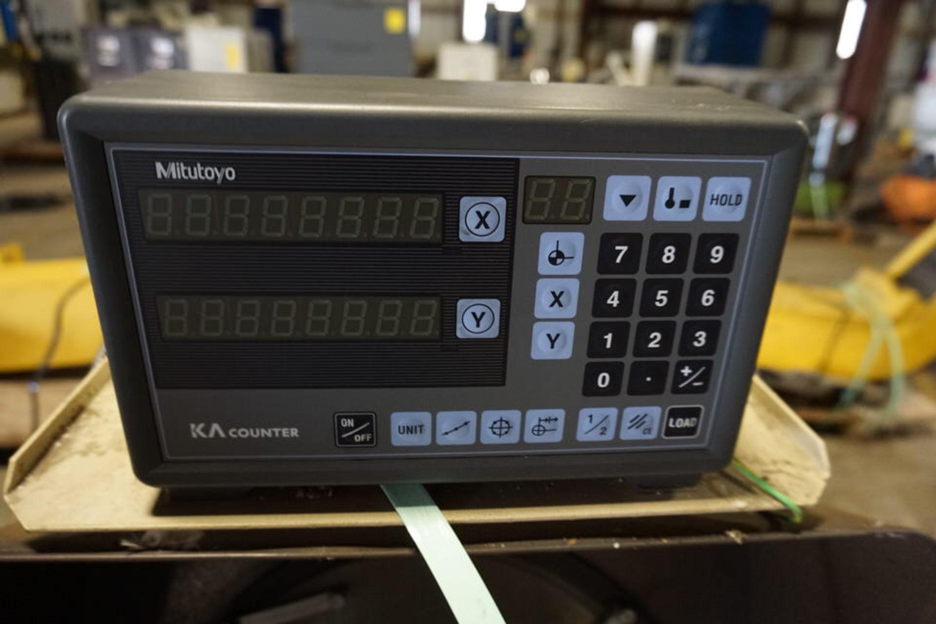 Lot 44 - CONDUCTRIX ELEC CORD REEL W/ BUDGIT 1/2 TON HOIST, MITUTOYO OPTICAL COMPARATOR MDL:PH350 W/ DRO &