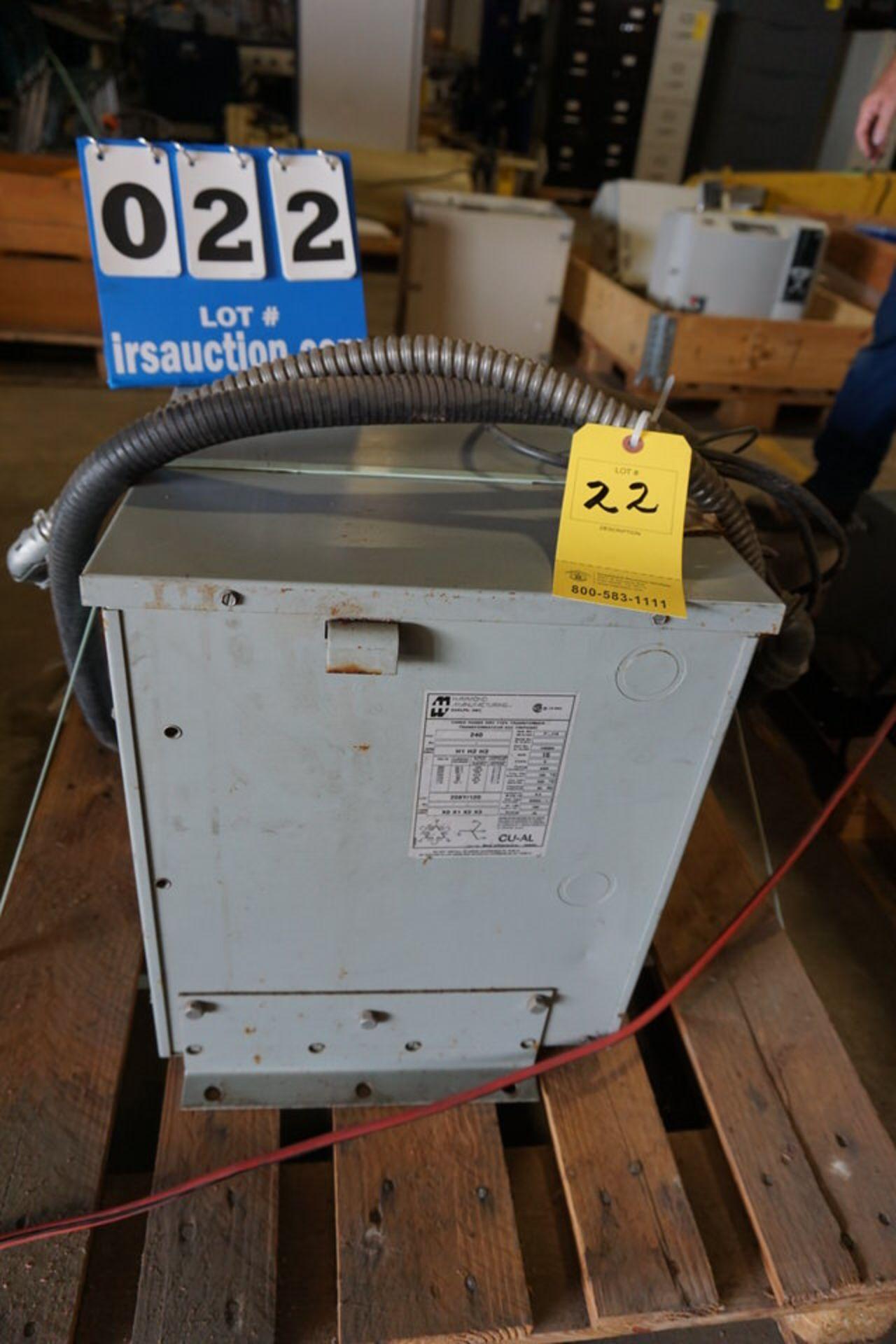 Lot 22 - HAMMOND TRANSFORMER, TYPE:K W/ ALLEN BRADLEY TYPE 1 (Location: 903 Blue Starr, Claremore, OK 74017)