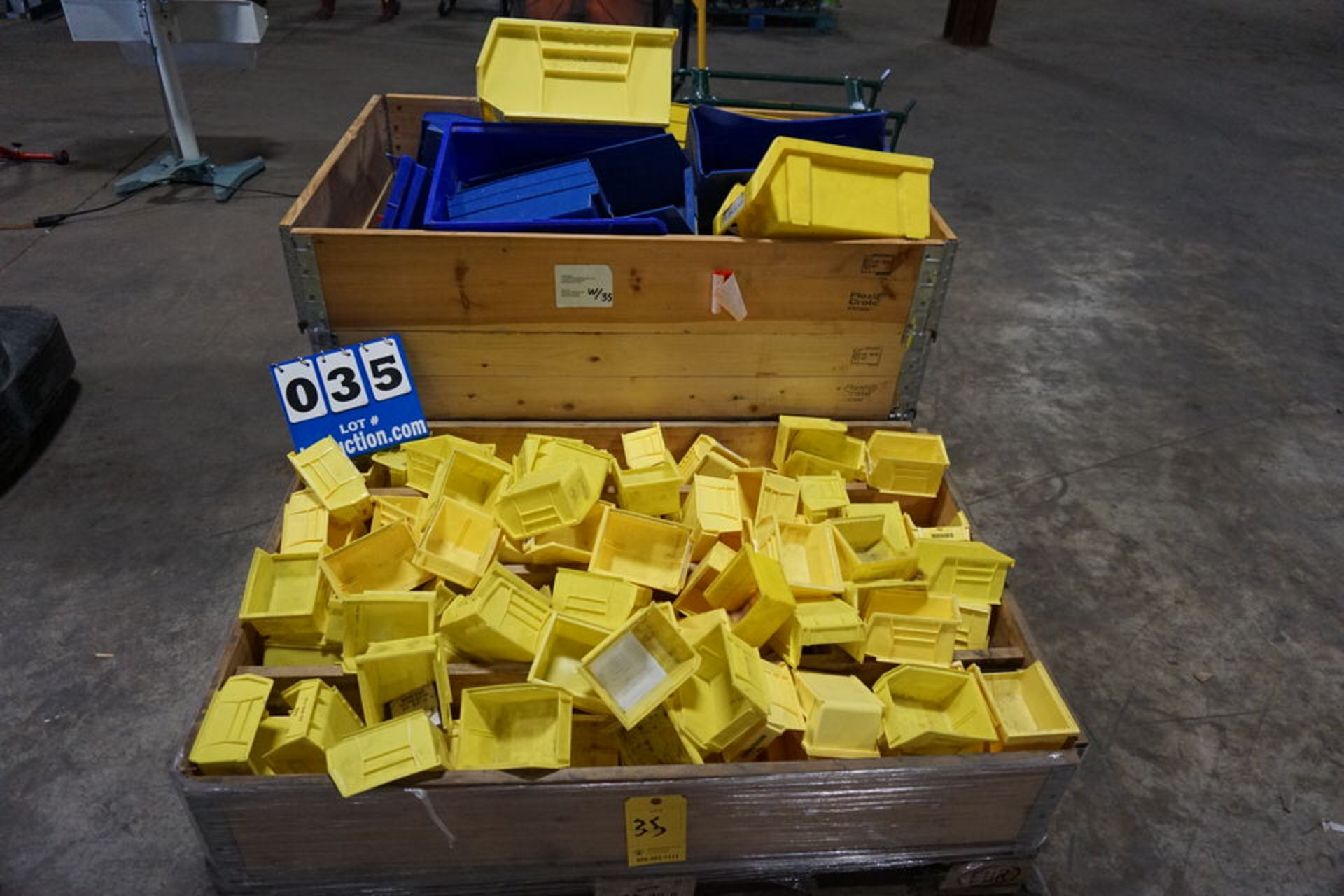 Lot 35 - APPROX 150 PLASTIC STORAGE BINS (Location: 903 Blue Starr, Claremore, OK 74017)