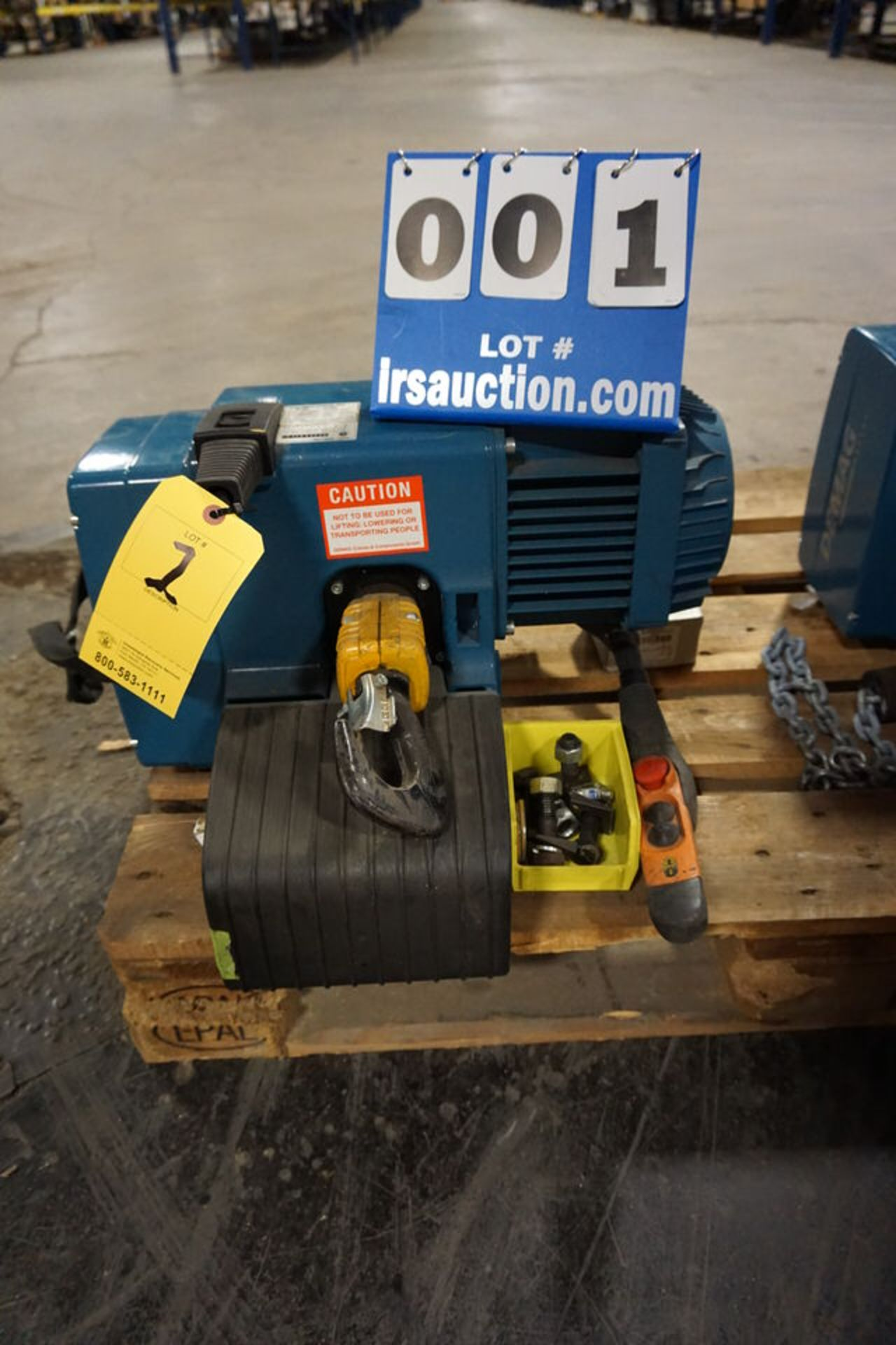 Lot 1 - DEMAG 1 TON CHAIN HOIST, TYPE DC-PRO W/ PENDANT CTRL & TROLLEY (Location: 903 Blue Starr, Claremore,