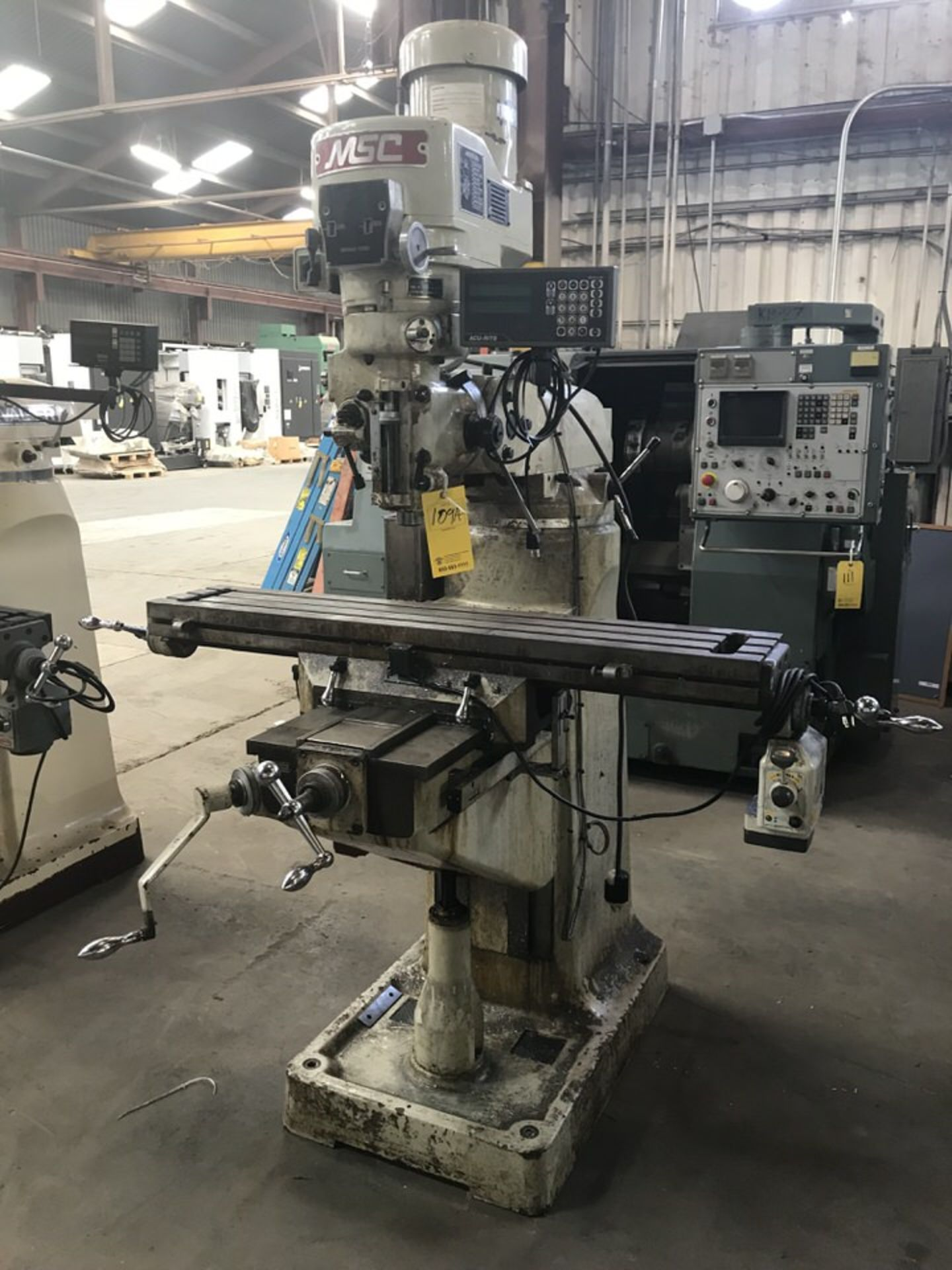 """Lot 109A - MSC Milling Machine, 9"""" x 49"""" Table, RPM: 90-3,640, 5"""" Quill, AL400S X Axis Rapid Feed, Acu-Rite 2"""