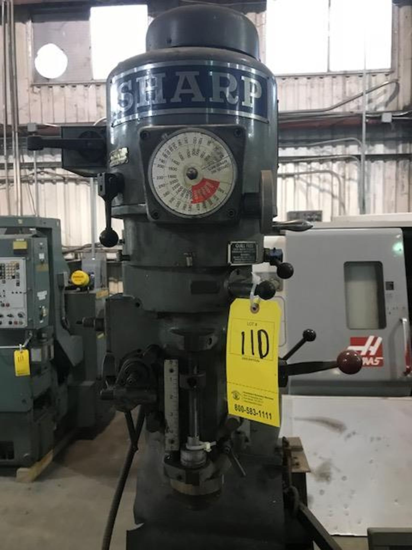 "Lot 110 - Sharp Milling Machine, Table: 9"" x 42"", 5"" Quill, RPM- 60-4500, heidenhain DRO (LOCATION: 3421 N"