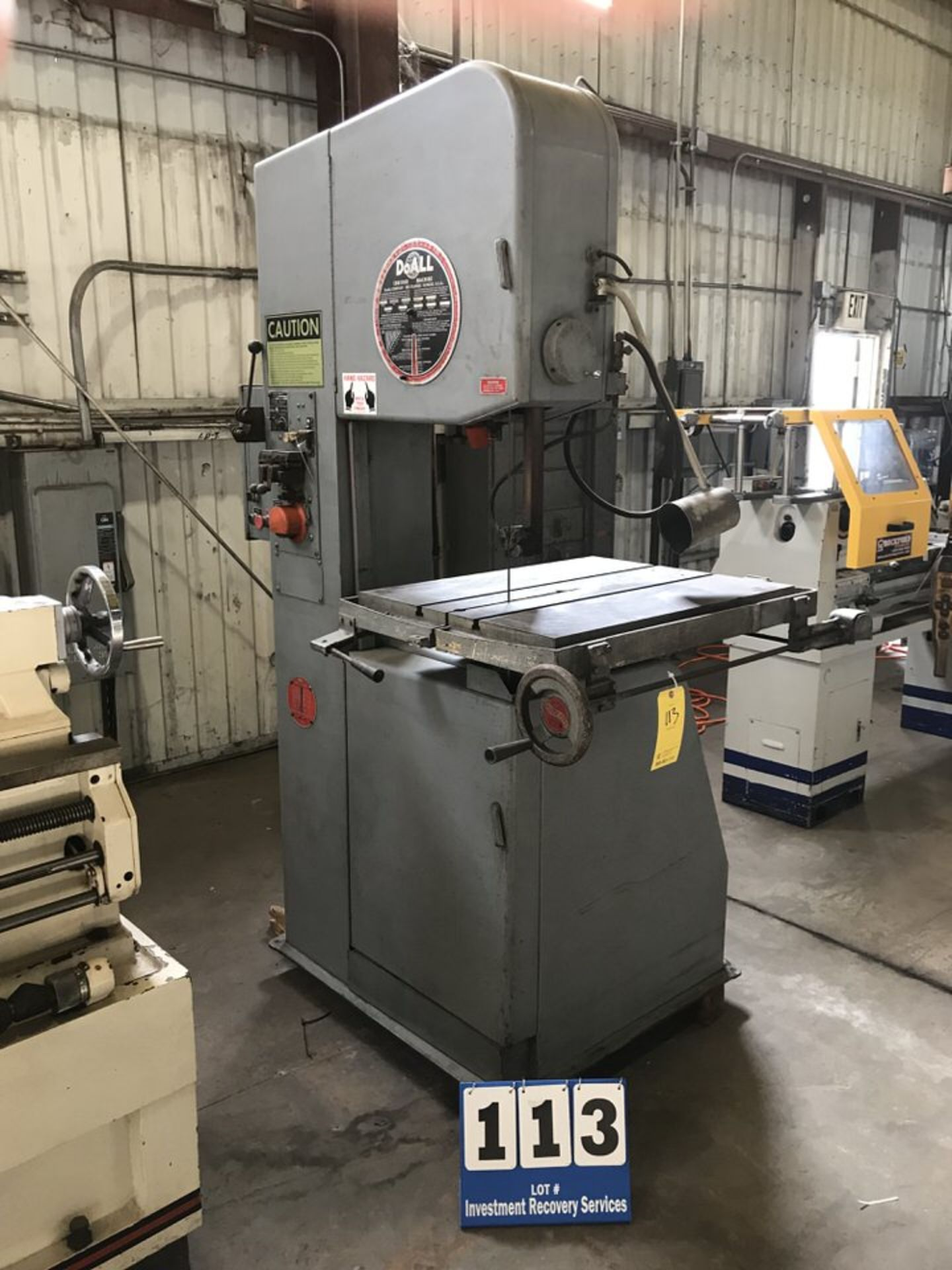 """Lot 113 - Doall Vertical Bandsaw, Mdl:2012-1AC, saw Band Length: 154"""", RPM: 50-5200 (LOCATION: 3421 N"""