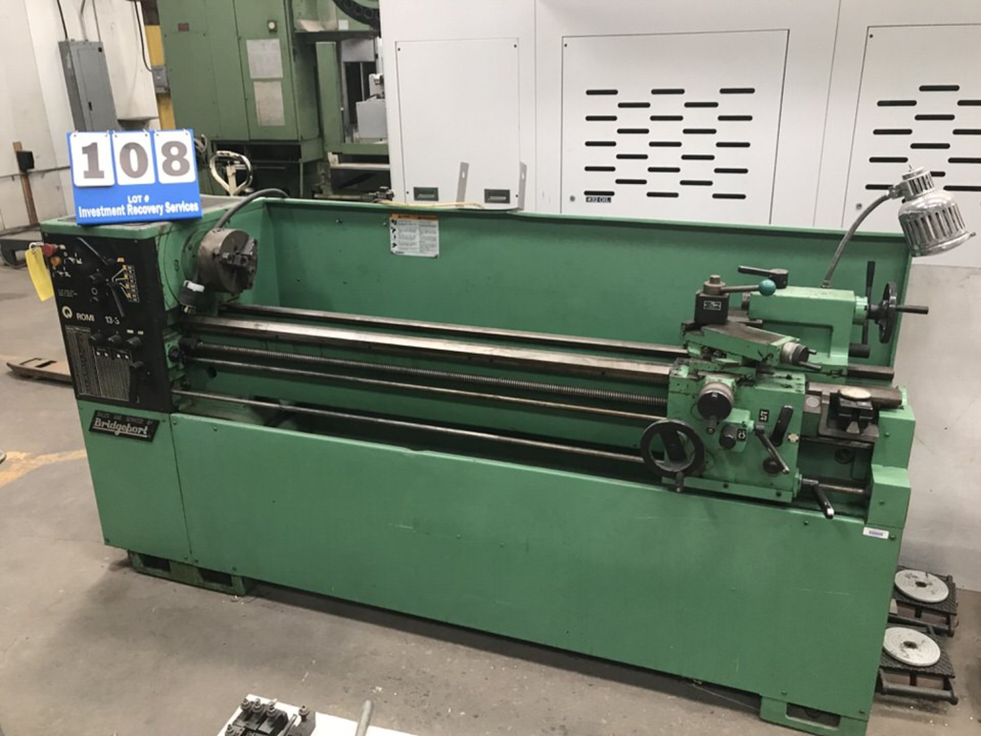 "Lot 108 - Bridgeport Romi 13-3 Lathe w/ Tooling, Swing: 13"", Centers: 60"", RPM: 0-1,500 (LOCATION 1: 3421 N"