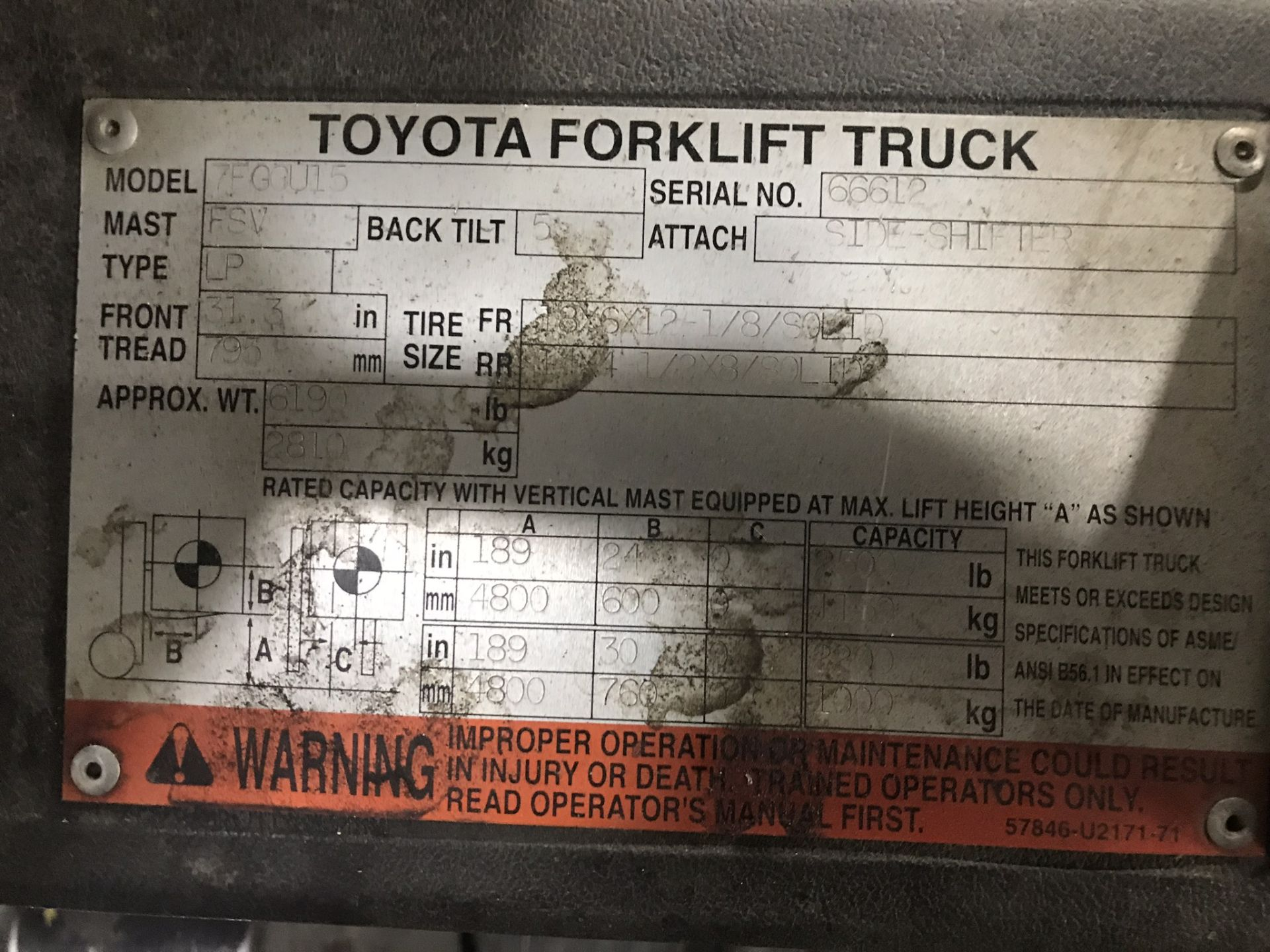 "Lot 117C - TOYOTA FORKLIFT, MDL: 7FGCU15, LIFT CAP: 3,000 LBS, LIFT HEIGHT: 189"", SODESHIFT, LP GAS"