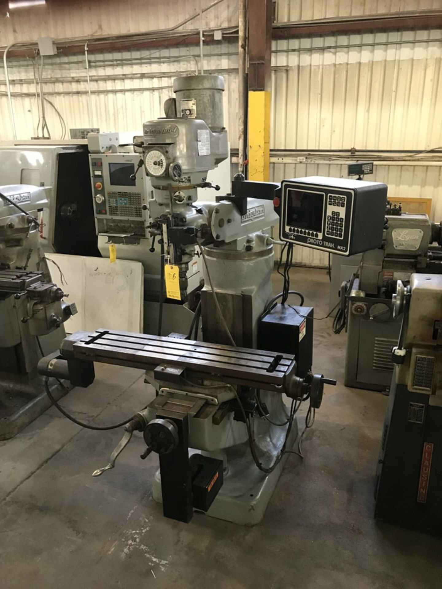 "Lot 110B - Bridgeport Milling Machine, 9"" x 42"" Table, 5"" Quill, RPM: 60-4,200, Proto Trak MX2 DRO System ("