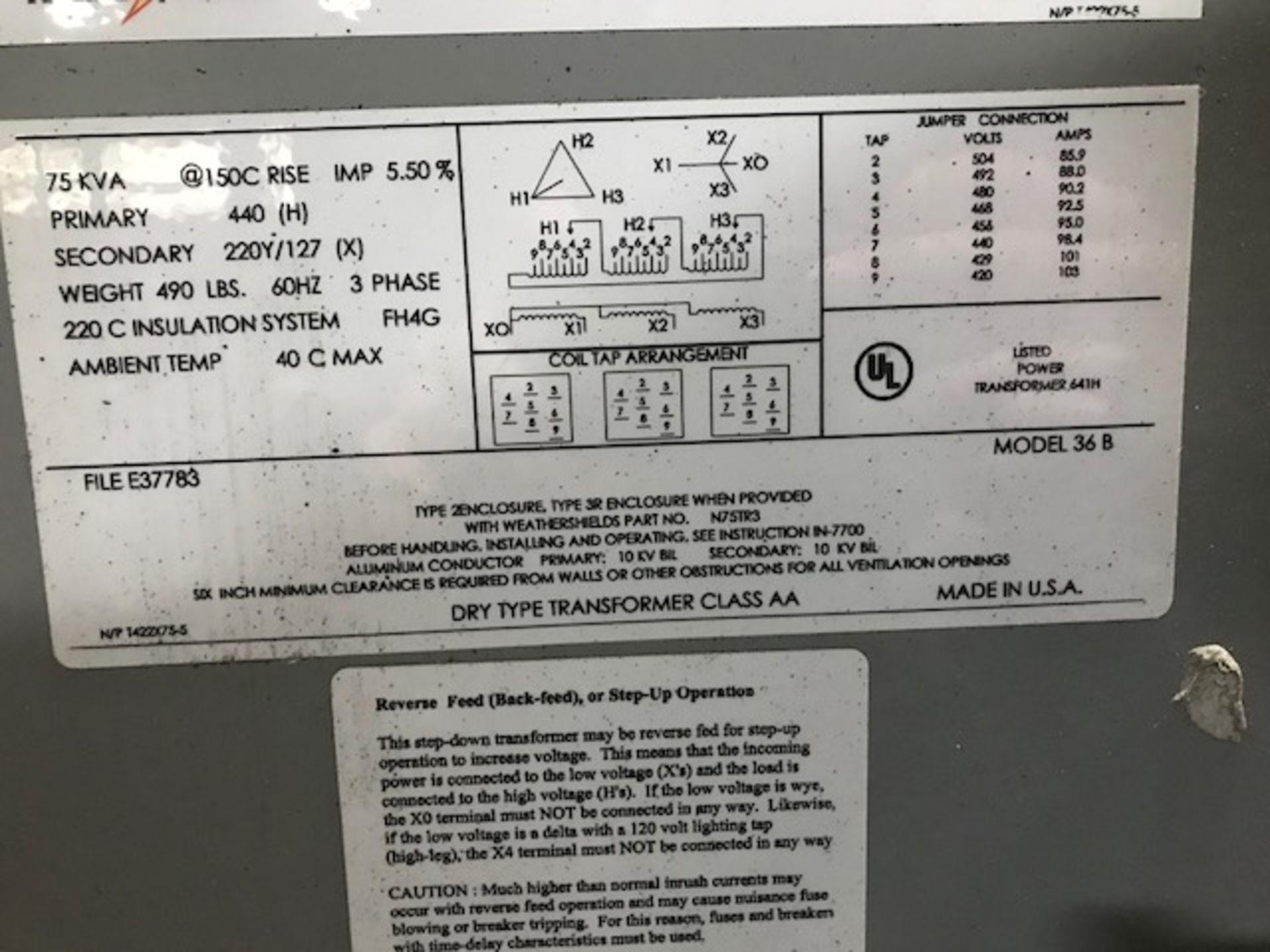 Lot 134 - Federal Pacific Transformer, 75 KVA (LOCATION: 3421 N SYLVANIA, FT WORTH, TX, 76111)