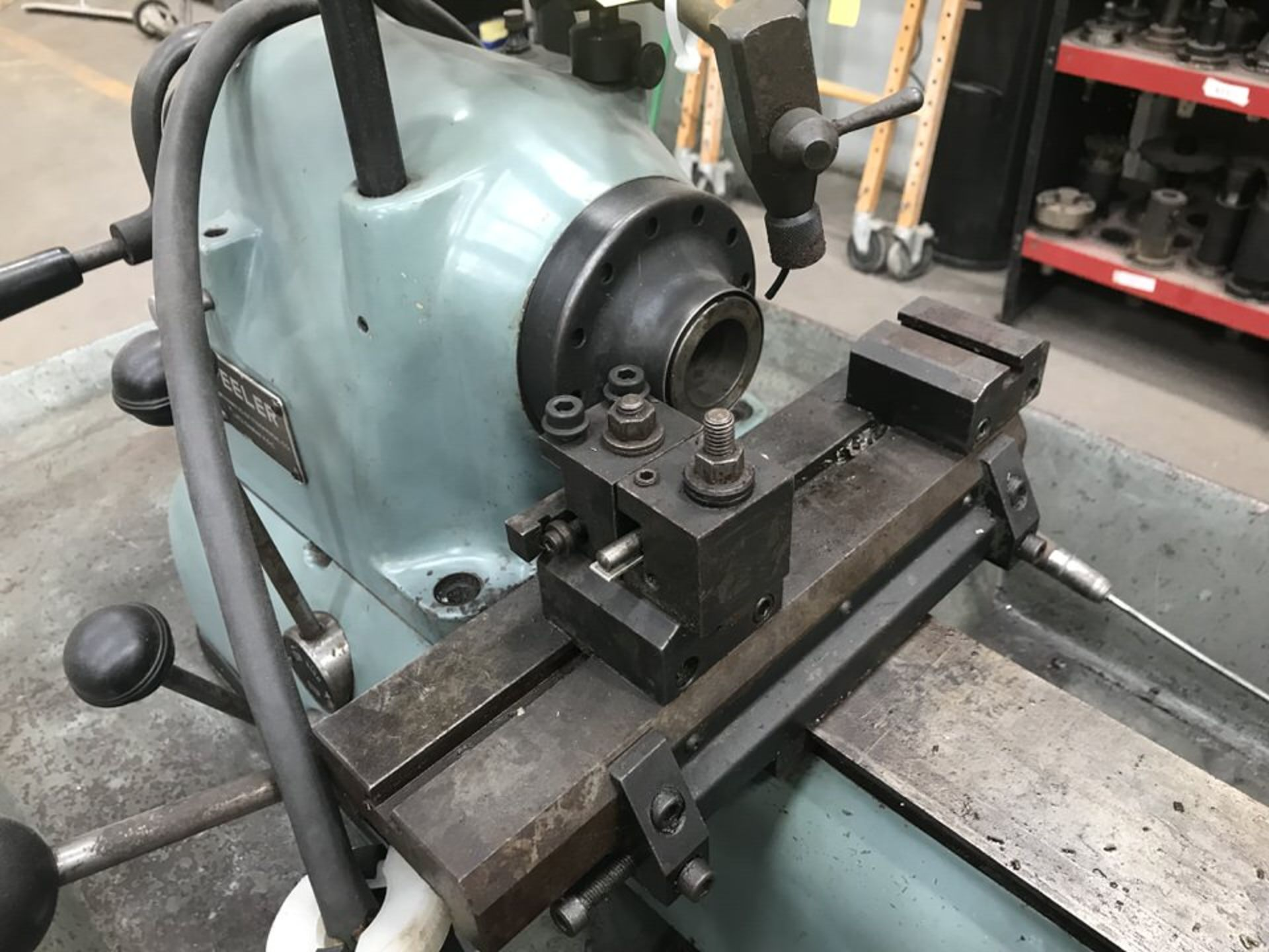 "Lot 107 - Feeler FP-30 Production Lathe, Year: 1989, Swing over Bed: 11"", Swing of Carriage: 9"", Swing over"