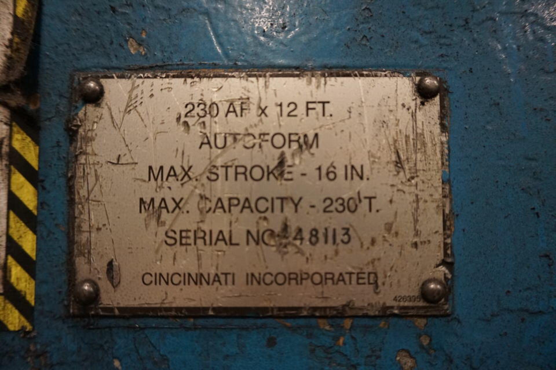 Lot 4 - 230 Ton x 12' Cincinnati Hydraulic CNC Press Brake