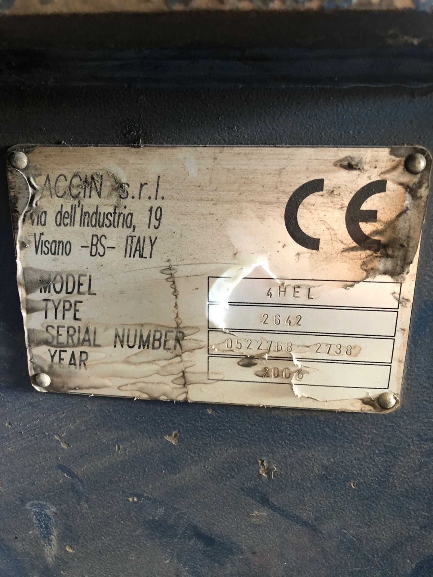 "Lot 105 - 2006 Faccin Hydraulic Plate Roll, 4 Roll, 8' x 1"" Capacity, Model 4HEL,"