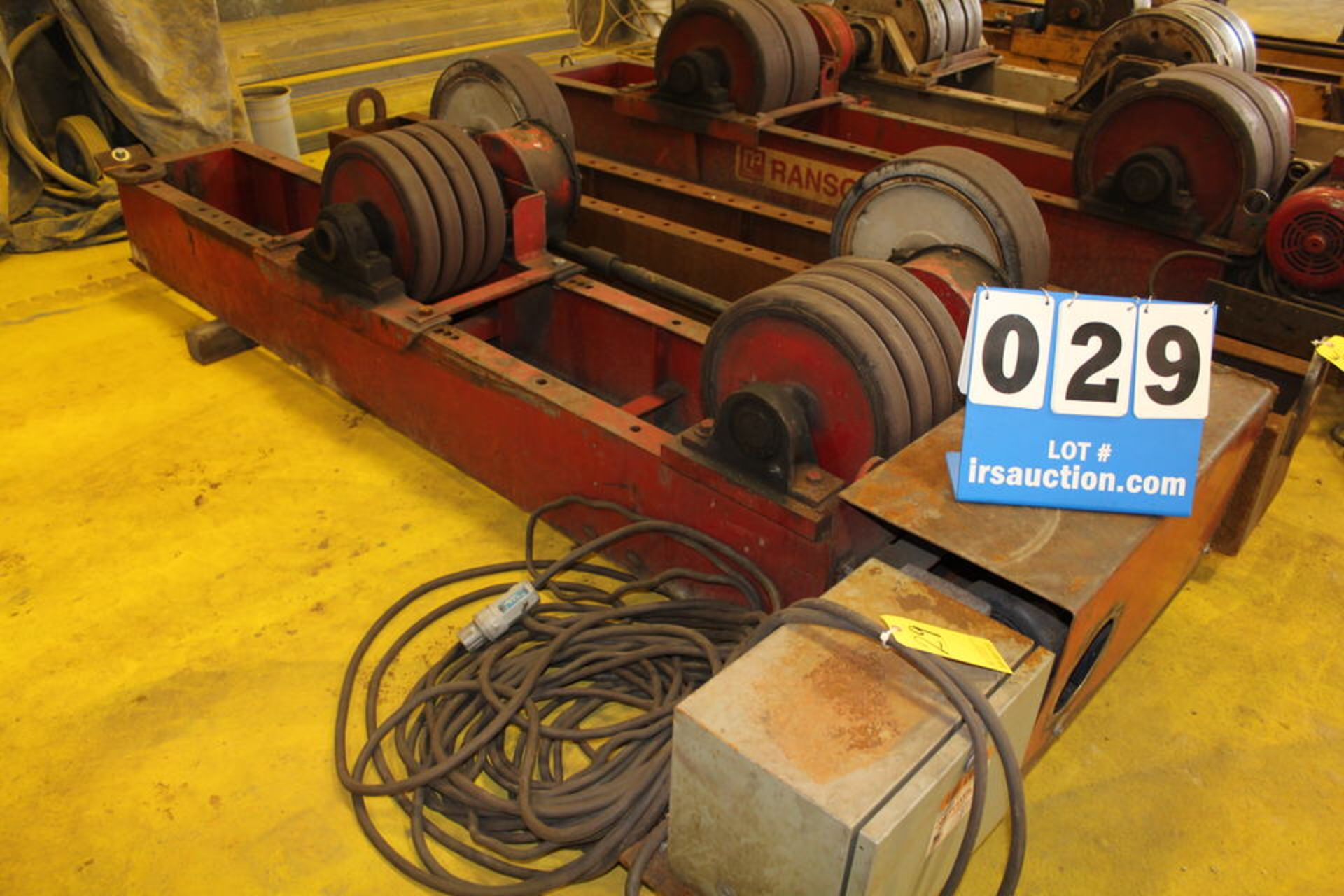 "Lot 29 - RANSOME POWER TURNING ROLL, 16"" X 10"" WHEELS, W/ IDOLER, 8' (LOCATION: 4081 EASTSIDE HWY,"