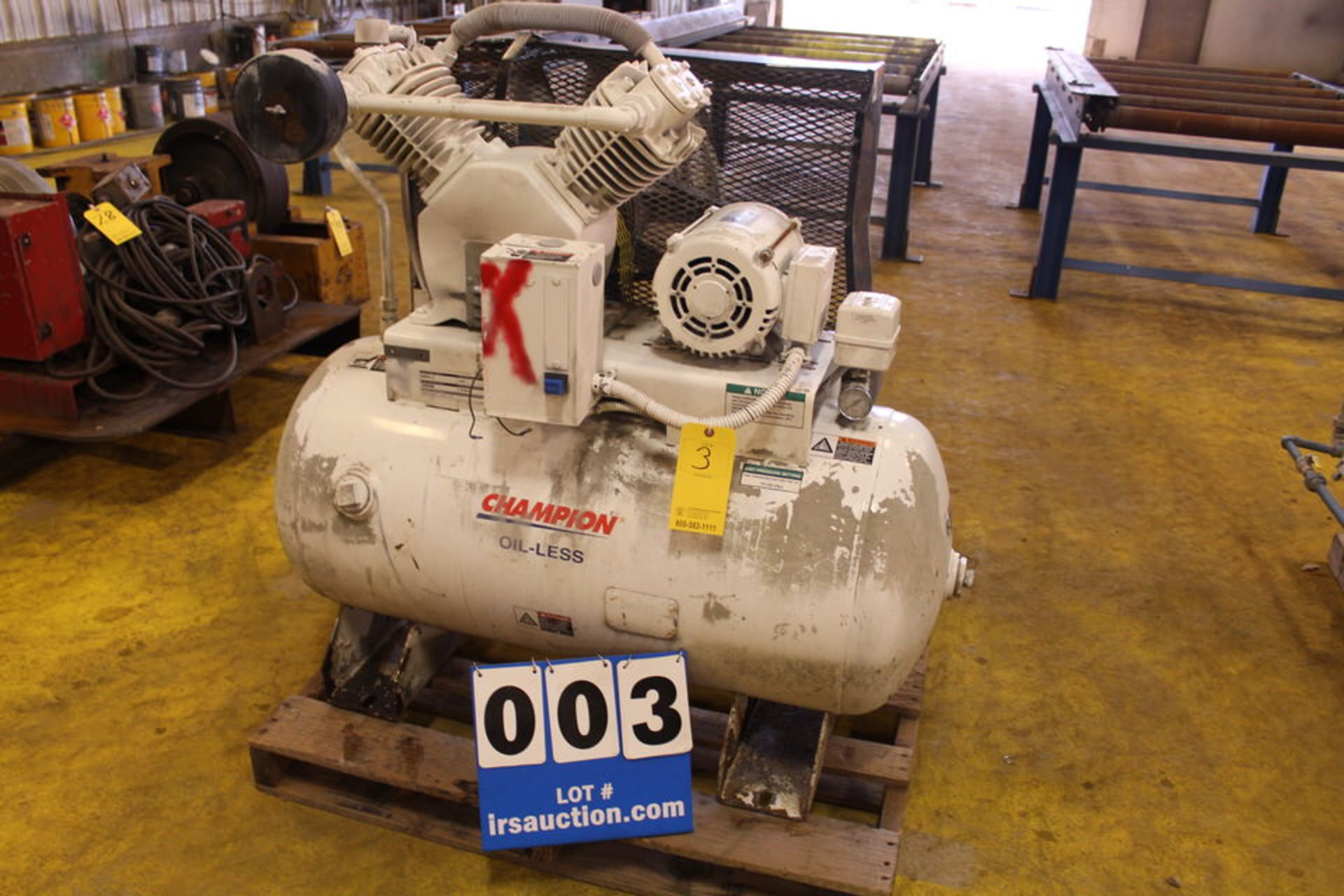 Lot 3 - CHAMPION 2 STAGE RECIPROCATING AIR COMPRESSOR, MDL:H5MTOII-6, 5 HP, W/ HORIZONTAL TANK (LOCATION: