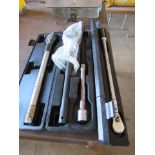 Two Large Ratchet Wrenches in Case, One Large Torque Wrench in Case