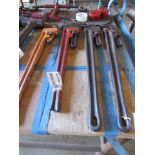 """Four 36"""" Pipe Wrenches"""