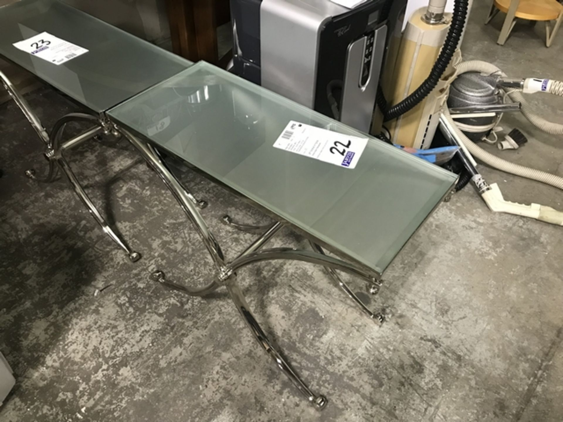 Lot 22 - GLASS SIDE TABLE