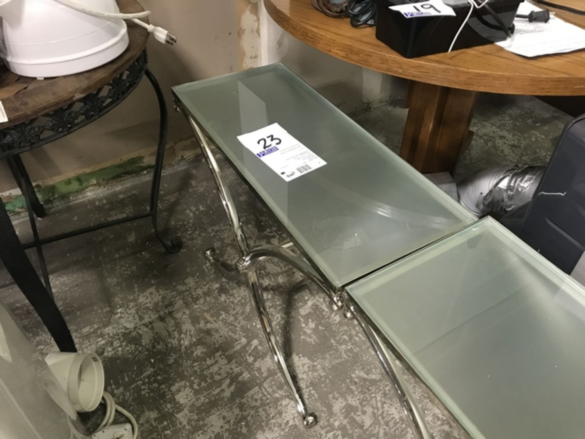 Lot 23 - GLASS SIDE TABLE