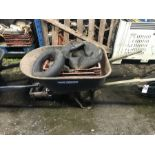 Lot 35 - WHEEL BARROW WITH CONTENTS