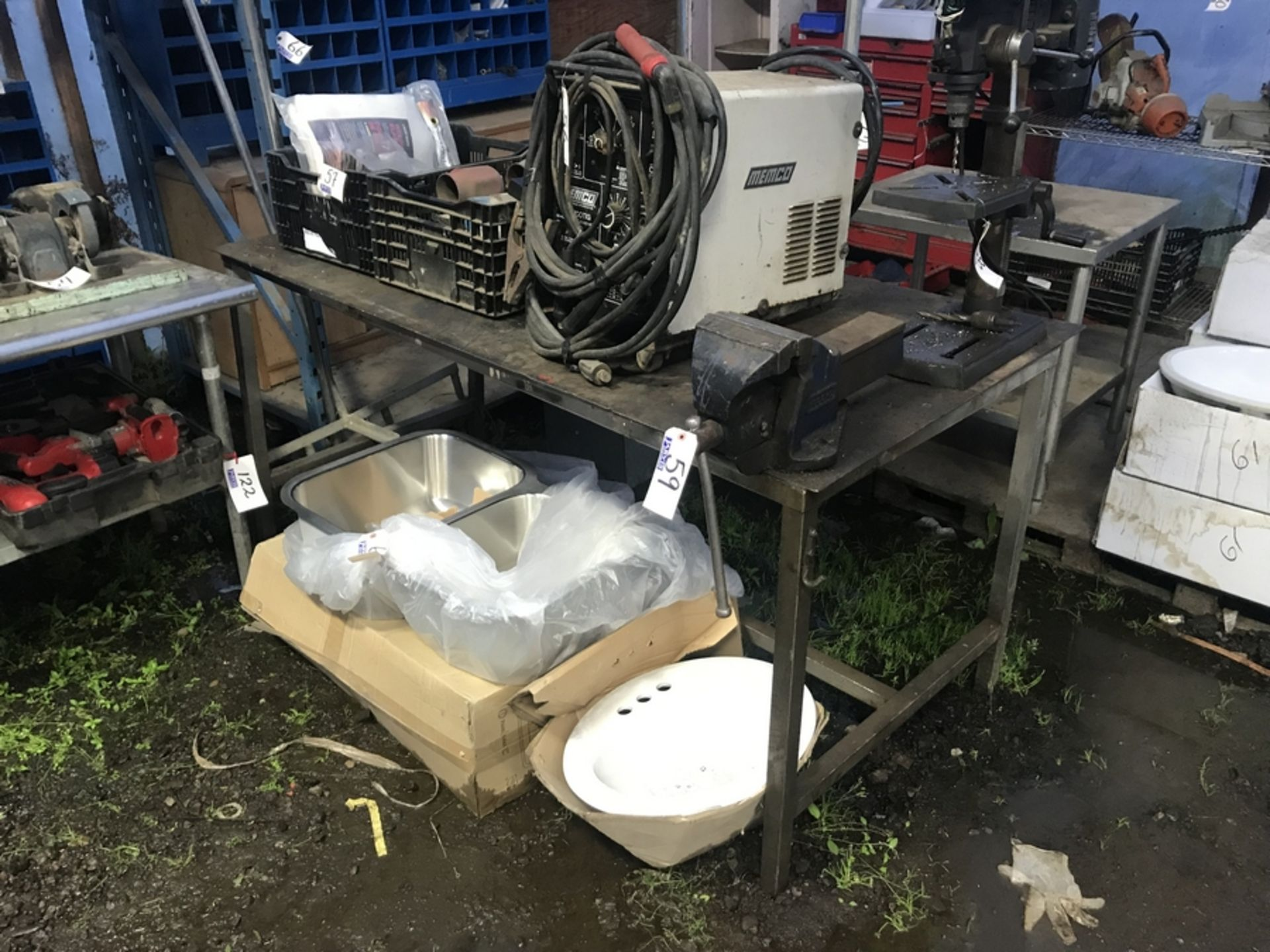 Lot 59 - VISE & STEEL TABLE