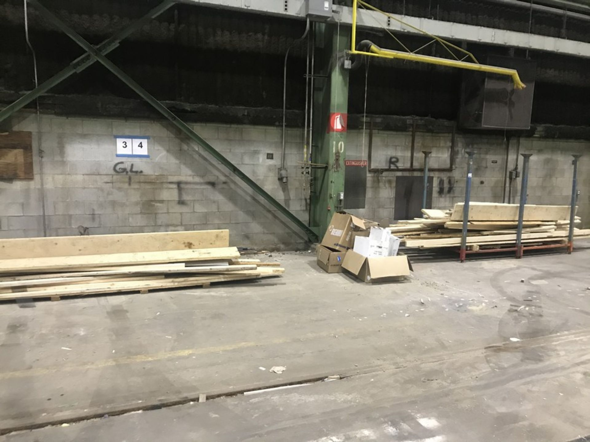 Lot 51 - DOUBLE WIDE MATERIAL RACK & 2 LOTS OF WOOD