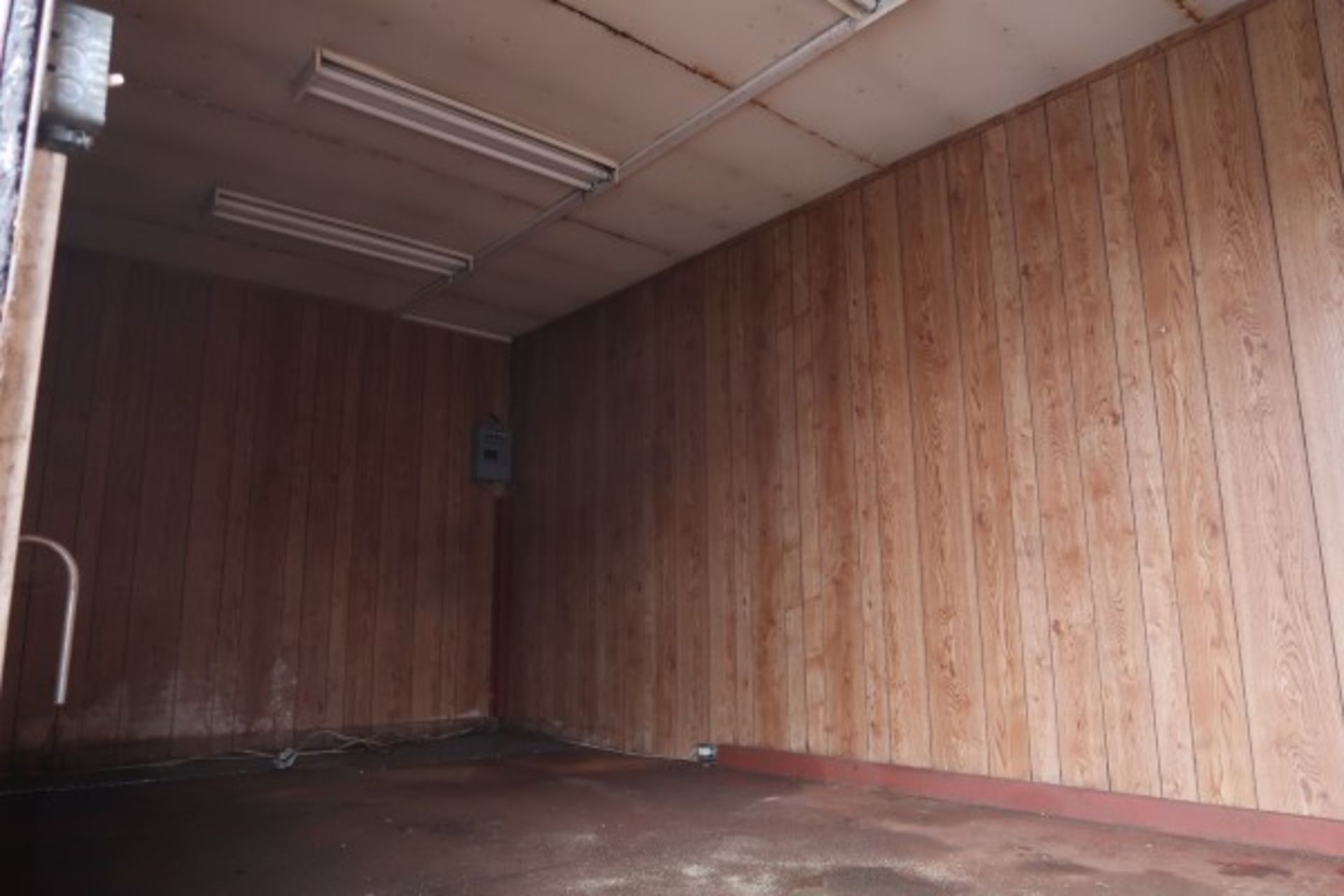 Lot 122 - STEEL OFFICE SHED (OUTSIDE BACK) - (TRAILER NOT INCLUDED)