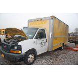 2008 GMC 15' BOX TRUCK, MORGAN BOX BODY, DUAL REAR WHEELS, SLIDE-OUT LOADING RAMP, APPROXIMATELY
