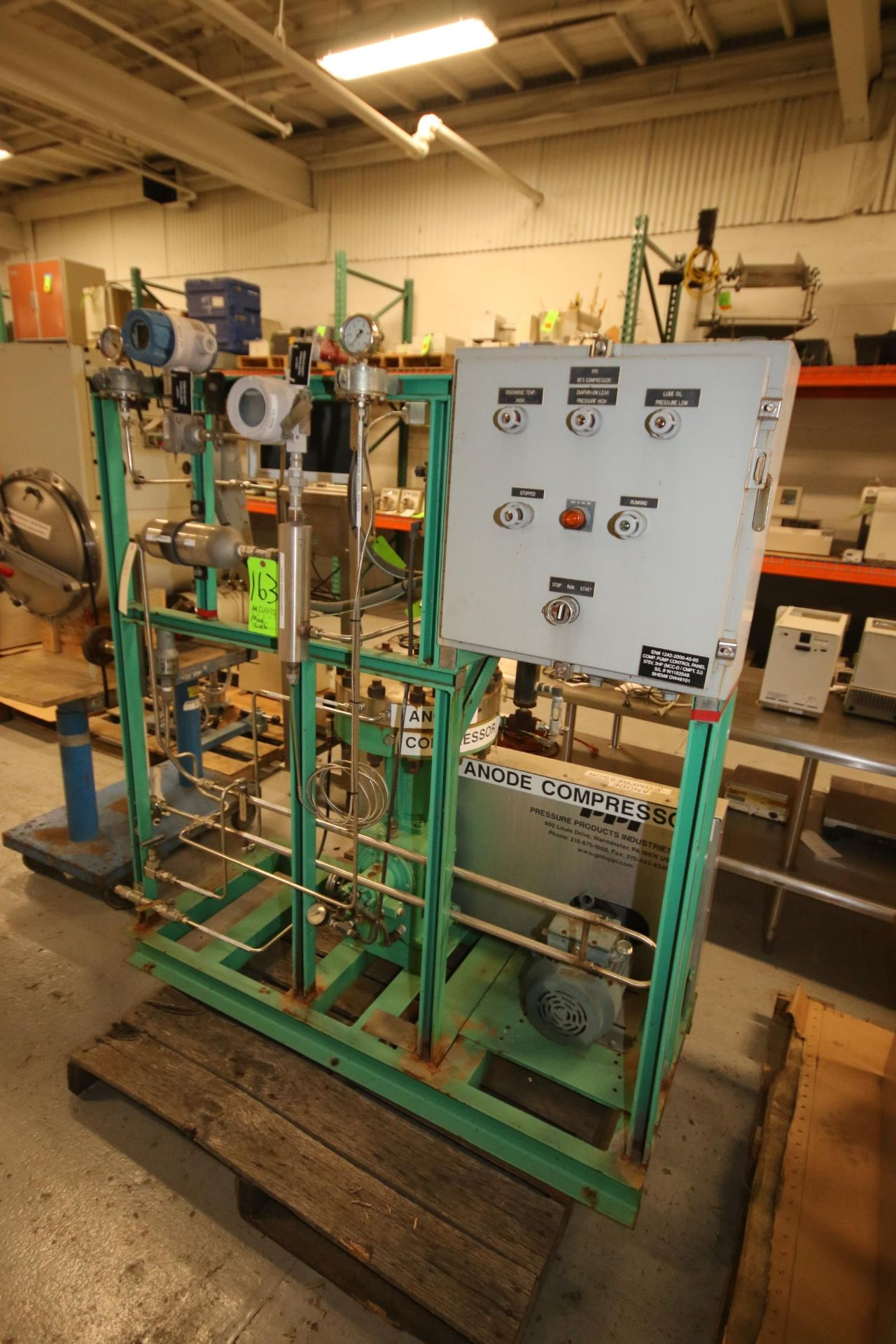 Lot 163 - PPI Anode Compressor, with 2 hp Drive, 1725 RPM, with Piping & Gauges