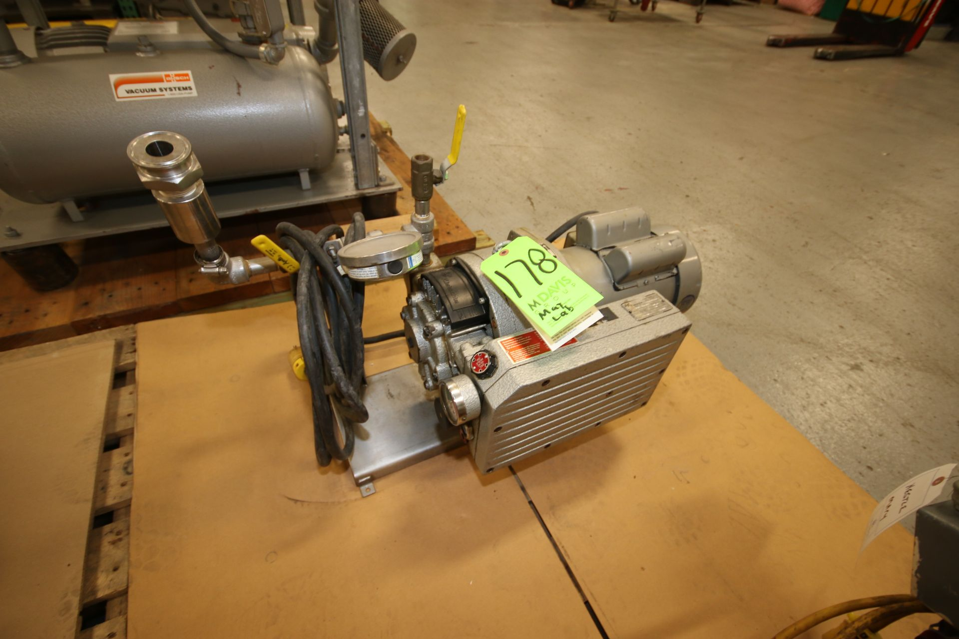 Lot 178 - Rietsche 1.5 hp Vacuum Pump, with Leeson 1740 RPM Motor, Type VCE-15-02, S/N 1619110