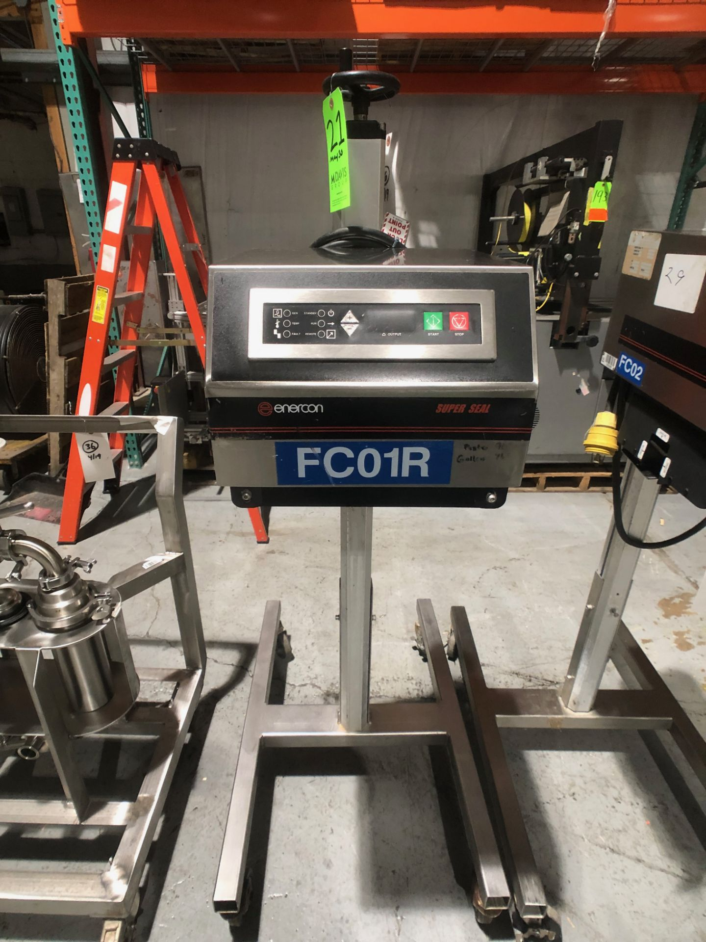 Lot 21 - Enercon Super Seal Portable Induction Sealer, Model LM4032-22, S/N 16450-01, Rating SS-75Mounted